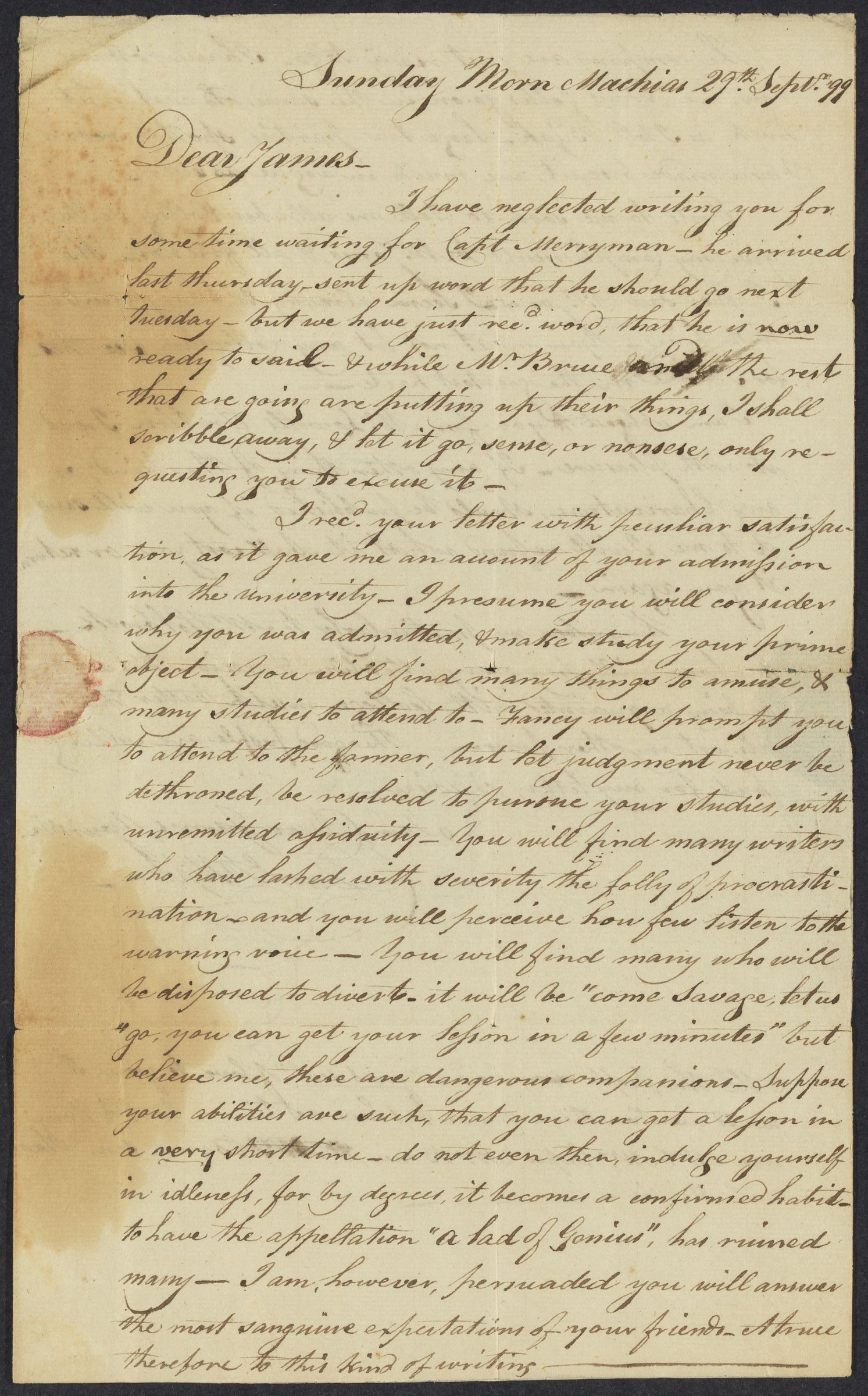 Letter from Daniel Upton to James Savage, 1799 September 29