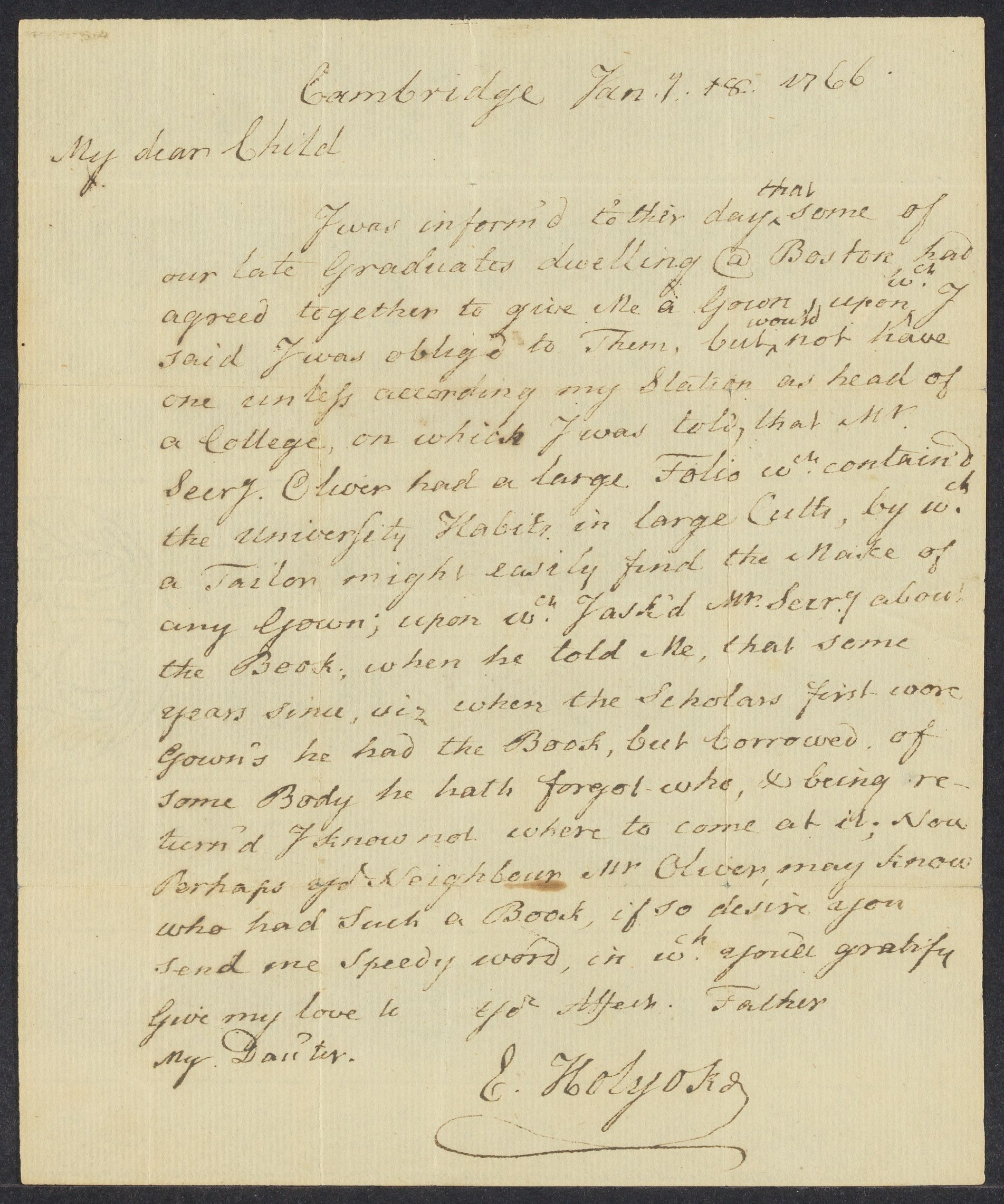 Letter from Edward Holyoke to his child, 1766, January 18