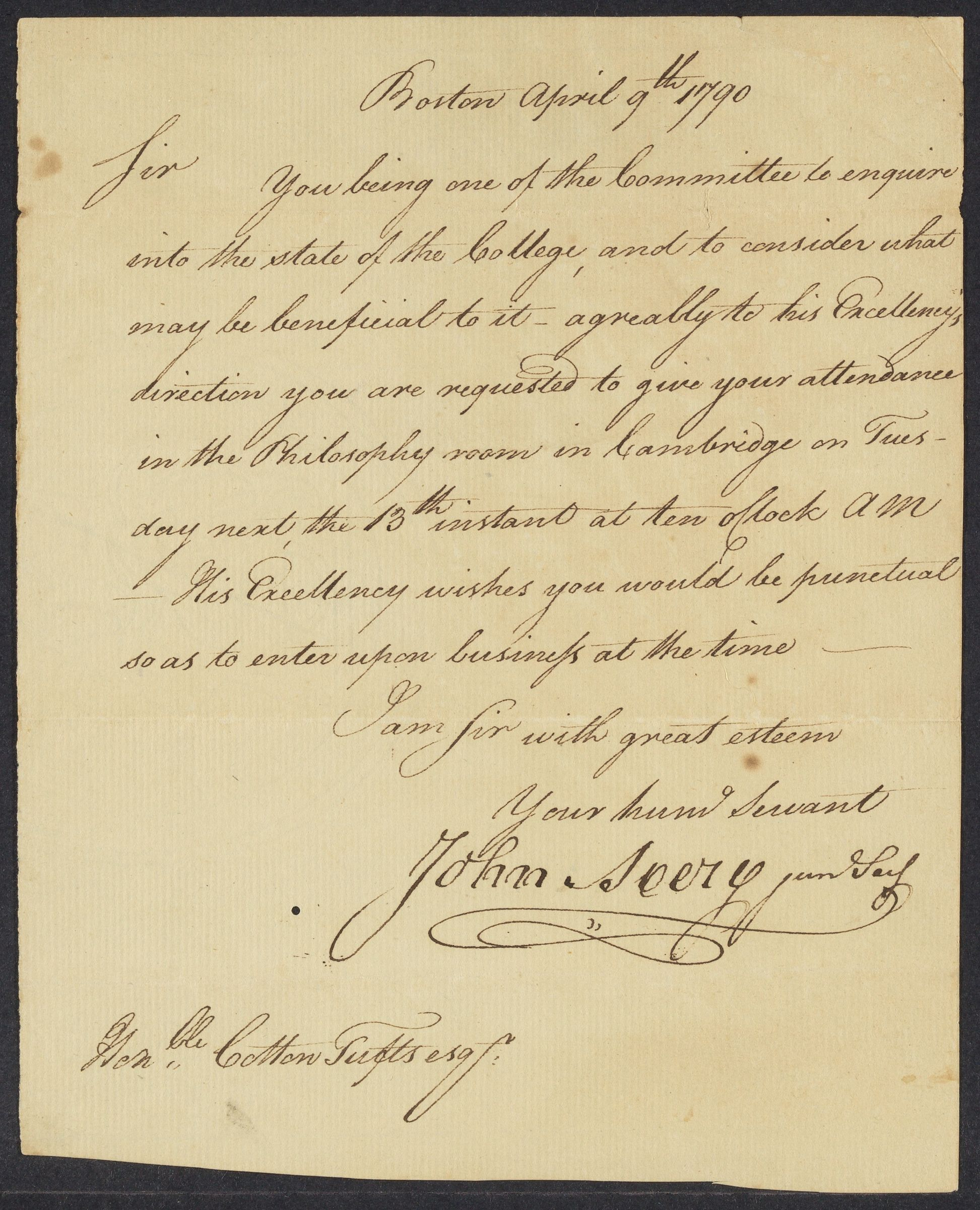 Letter from John Avery to Cotton Tufts, 1790 April 9