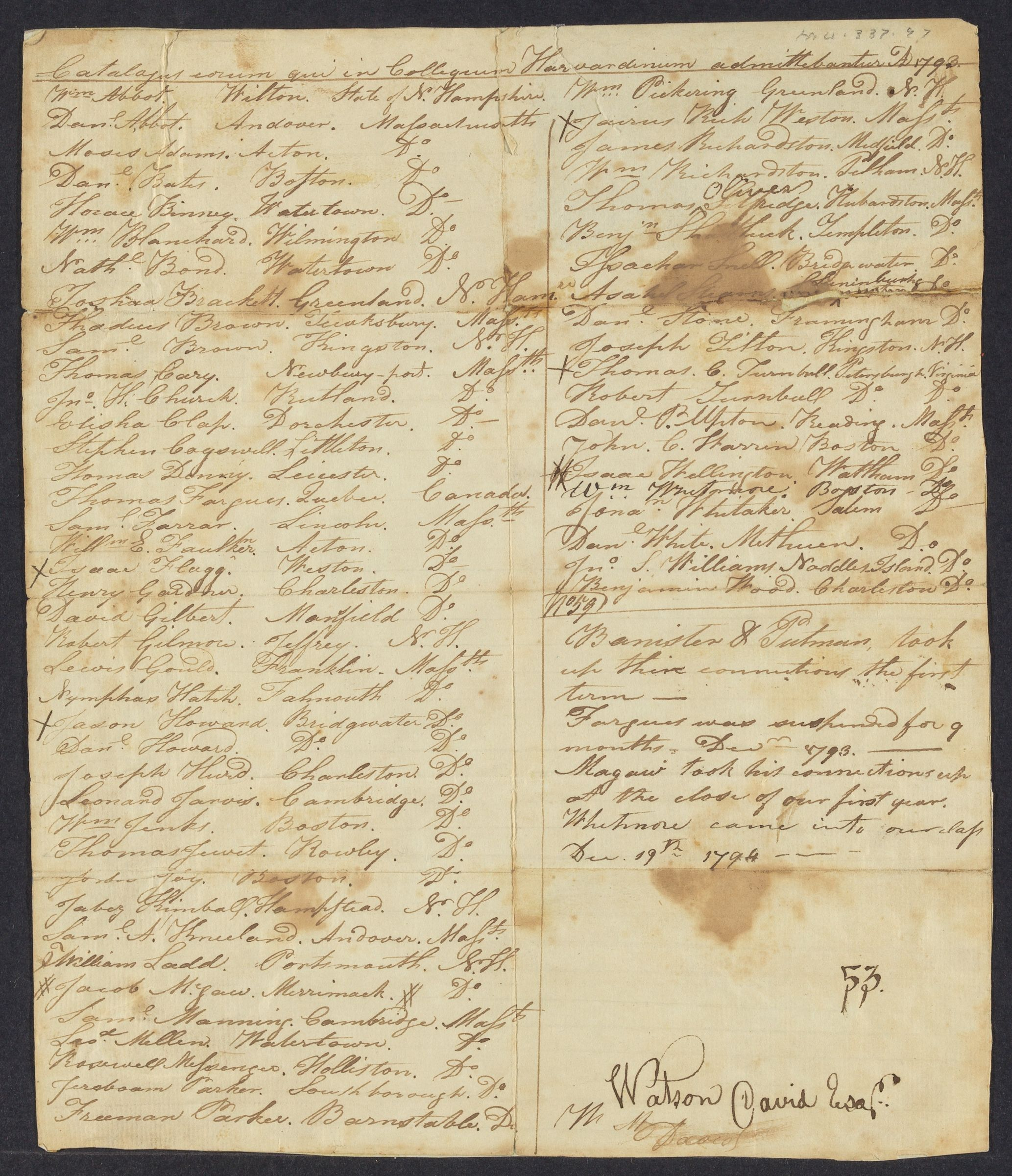 List of members of the Harvard College Class of 1797, created 1794 July 2