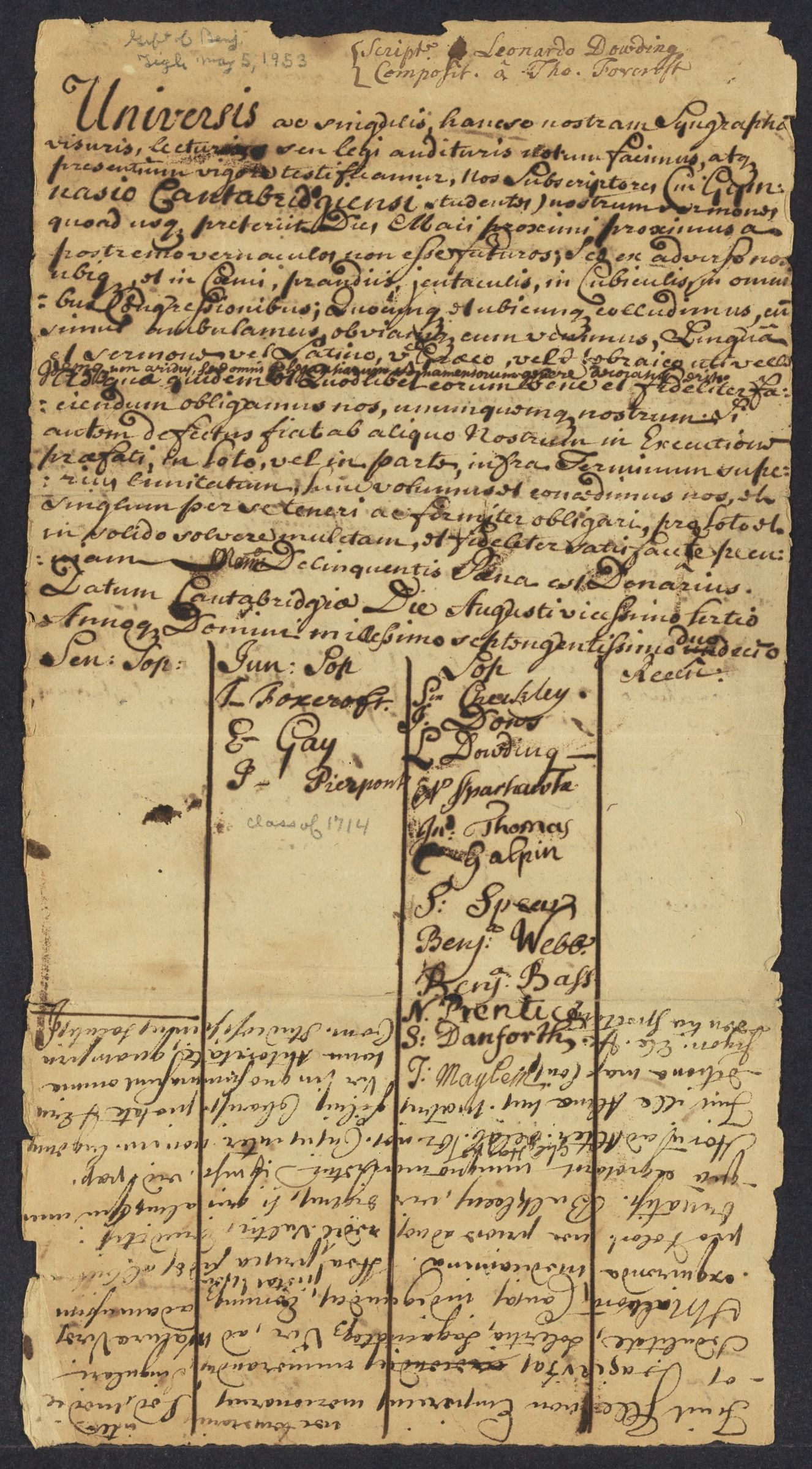 Declaration signed by Harvard students to not speak in the vernacular for one year, 1712 August 23