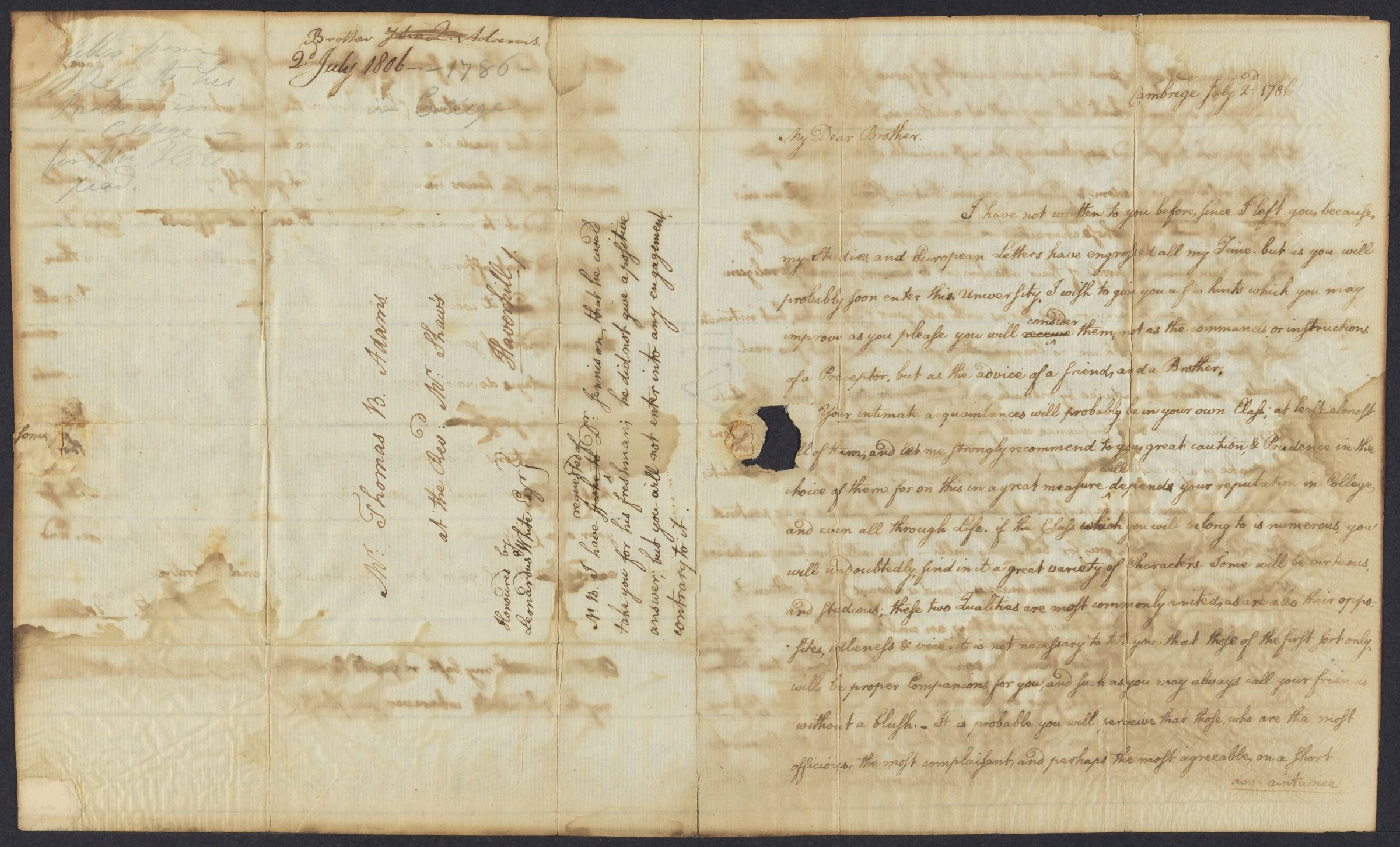 Letter from John Quincy Adams to his brother, Thomas Boylston Adams, 1786 July 2