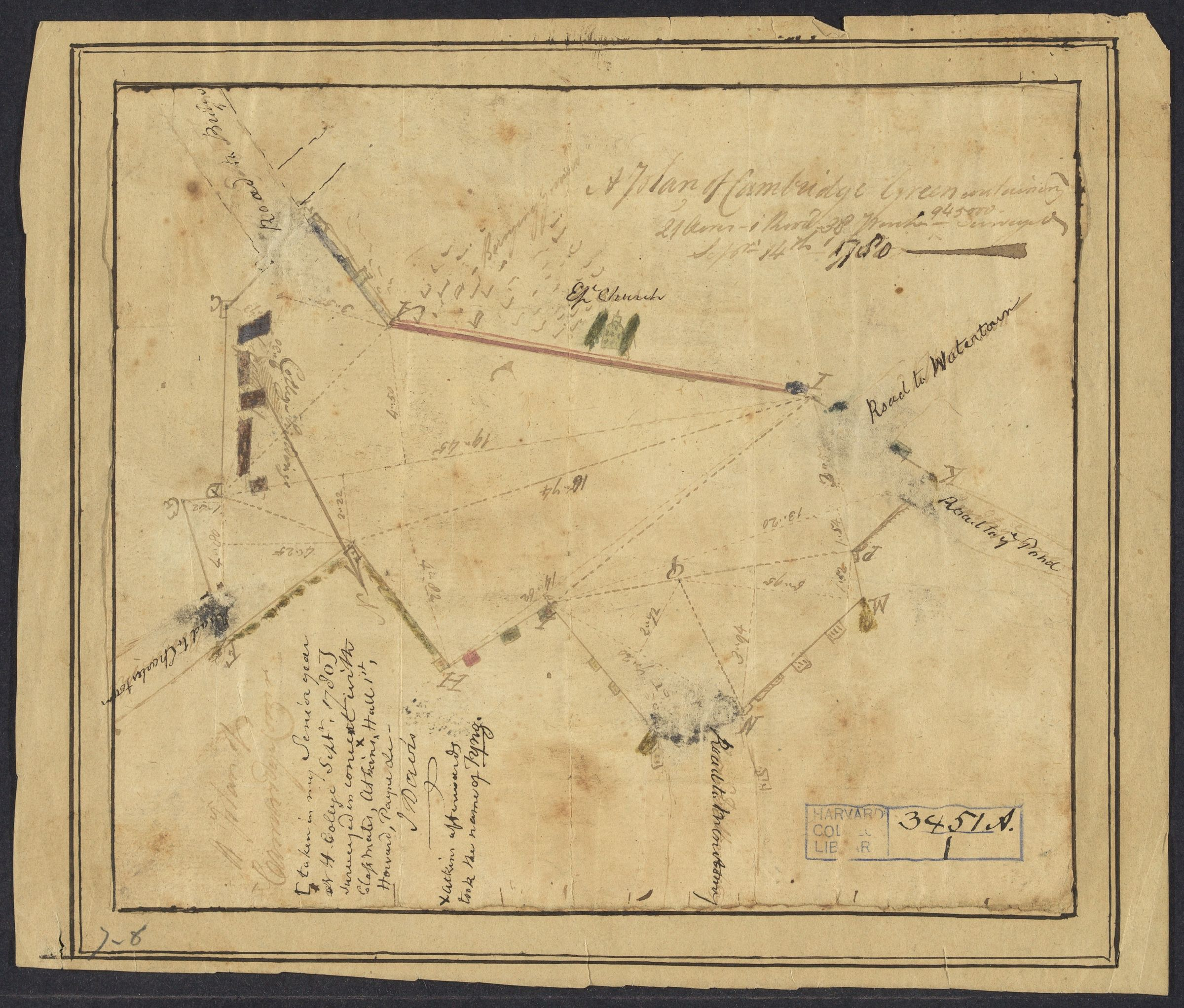 A  plan of Cambridge Green, 1780 September 14
