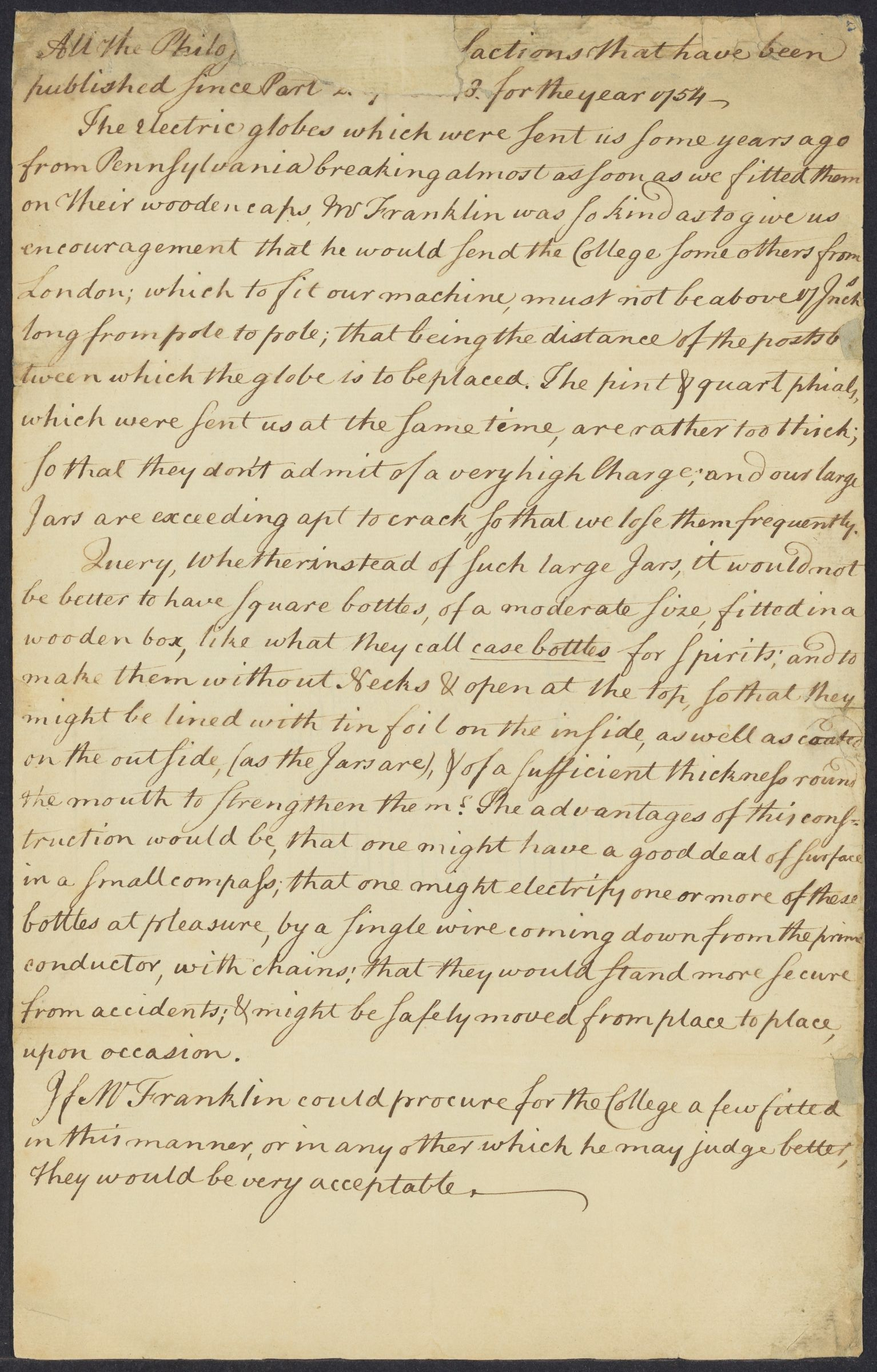 John Winthrop's proposal respecting electrical globes and jars, ca. 1758