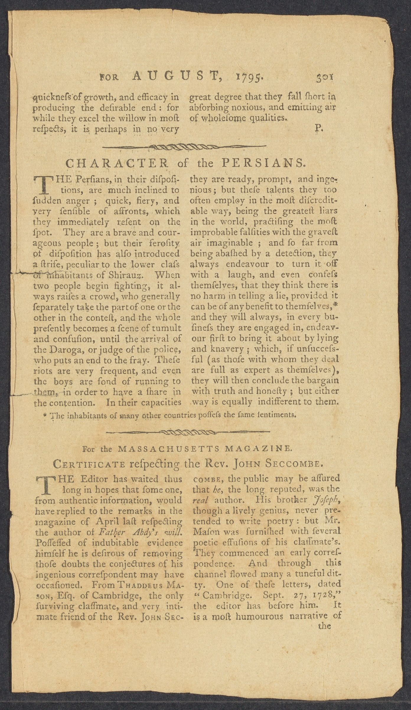 """Certificate respecting the Rev. John Seccombe,"" 1795 August"