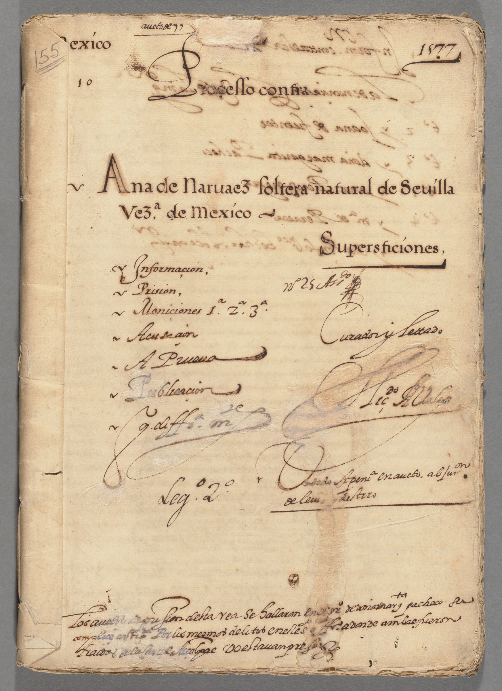 Proceedings against Ana de Narváez,29 July 1577-1578.