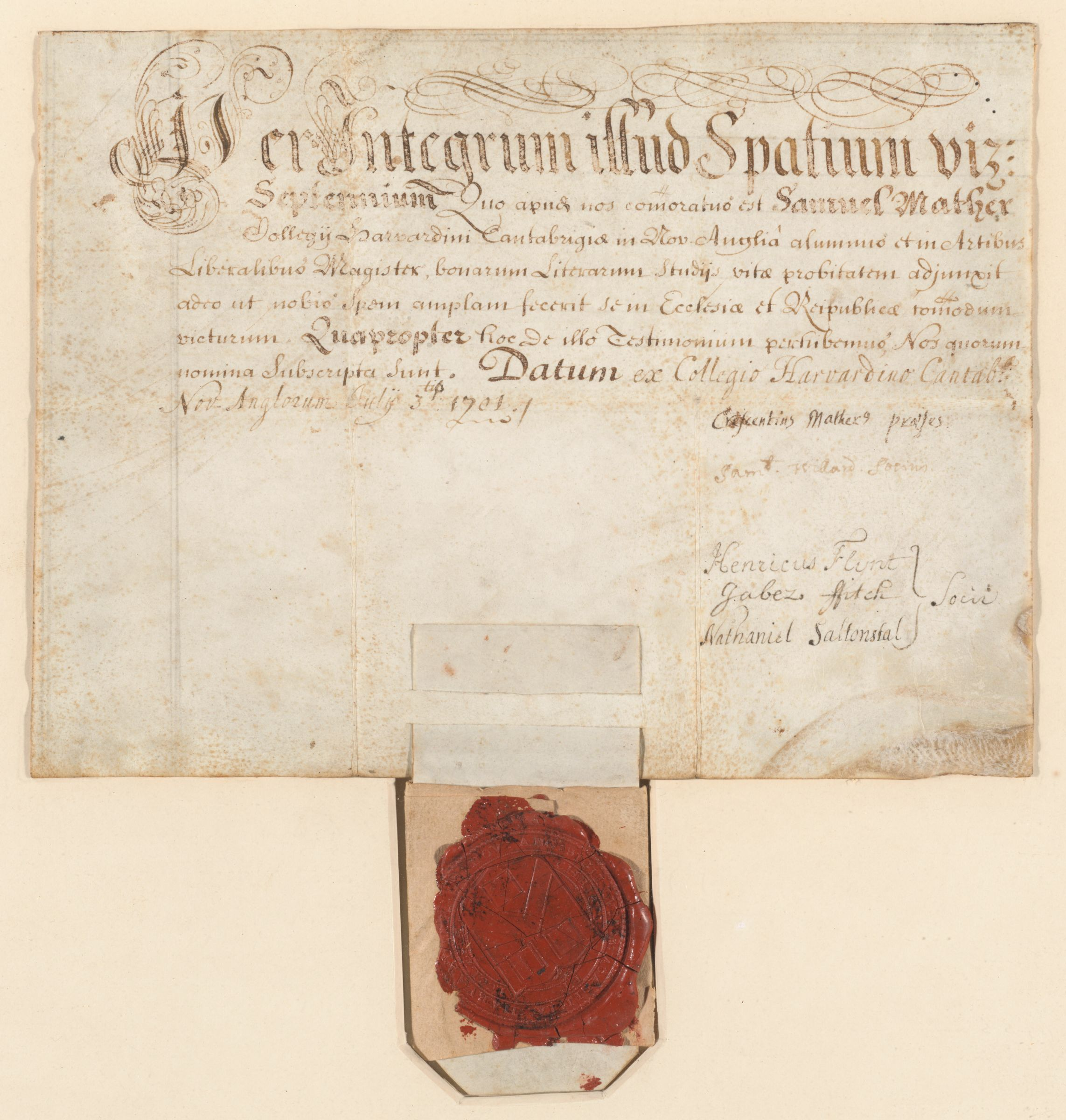 Harvard College Master of Arts diploma of Samuel Mather, 1701 July 3