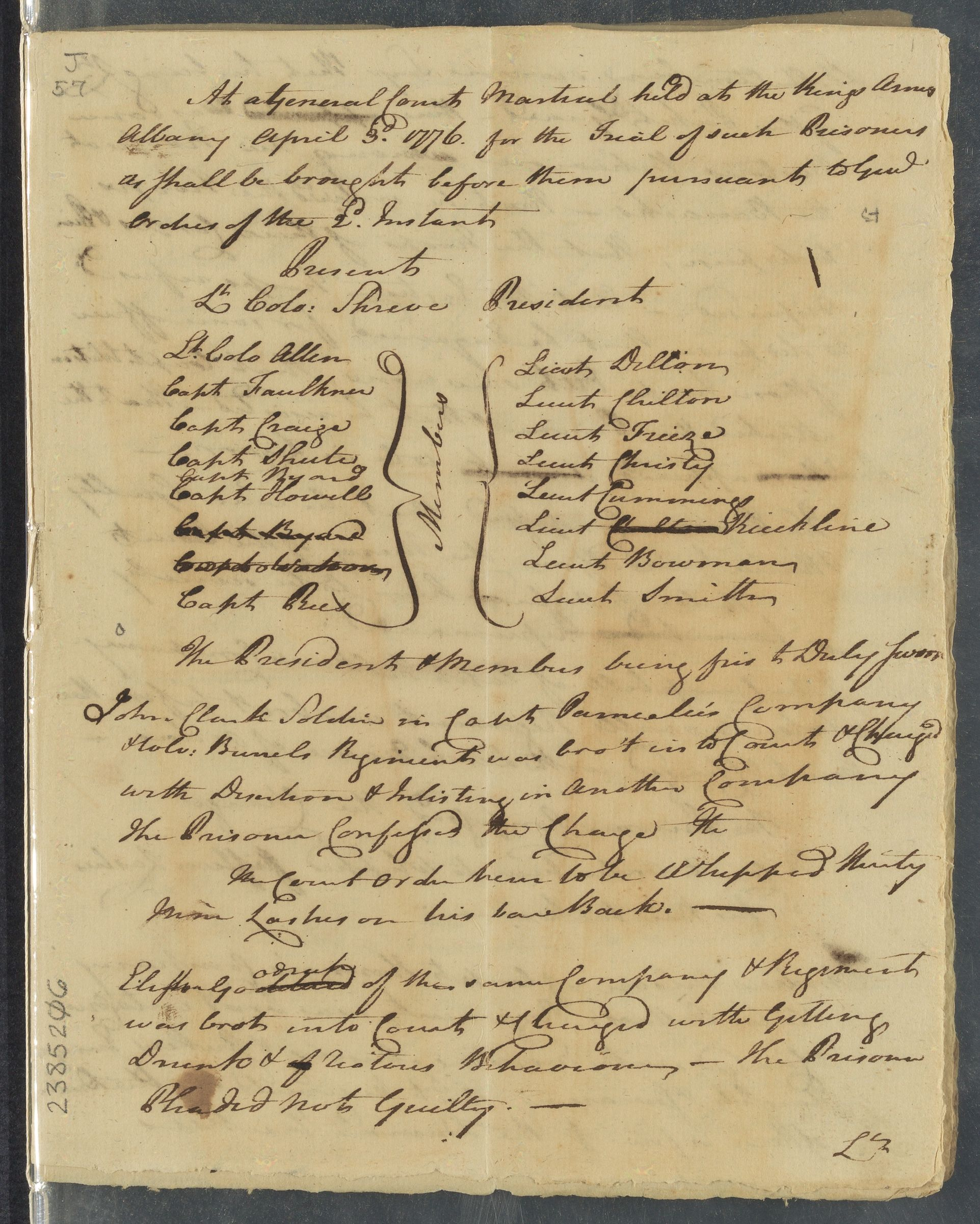 [ Minutes of the proceedings of a general courts-martial], 1776