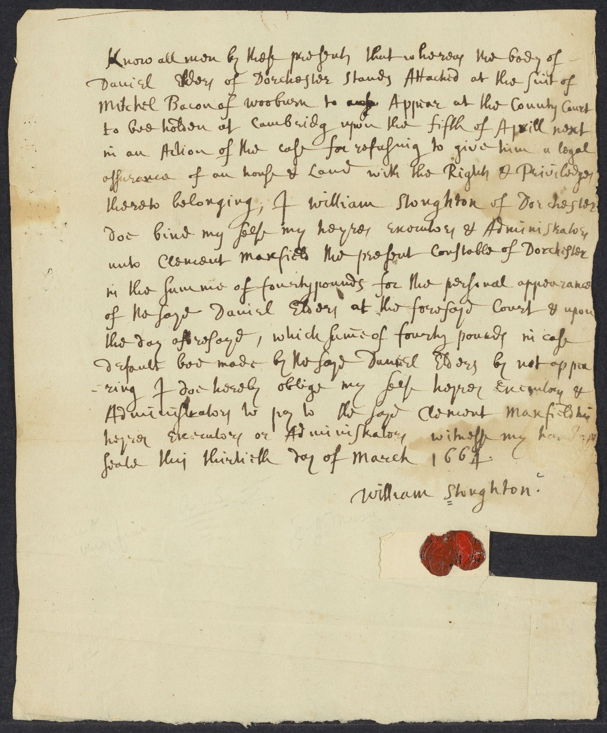 Bond to Clement Maxfield, 30 March 1664