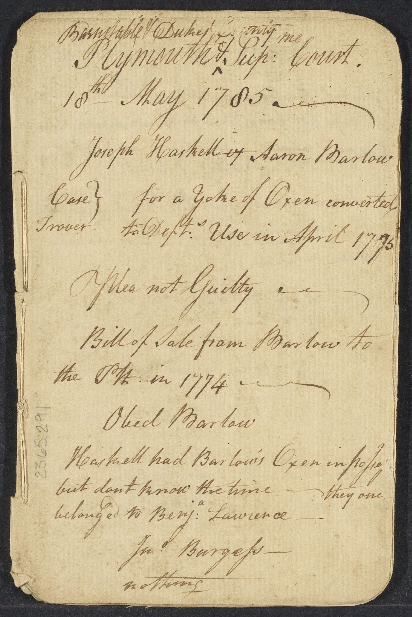 Notes on cases in Plymouth, Barnstable and Duke Counties, 1785