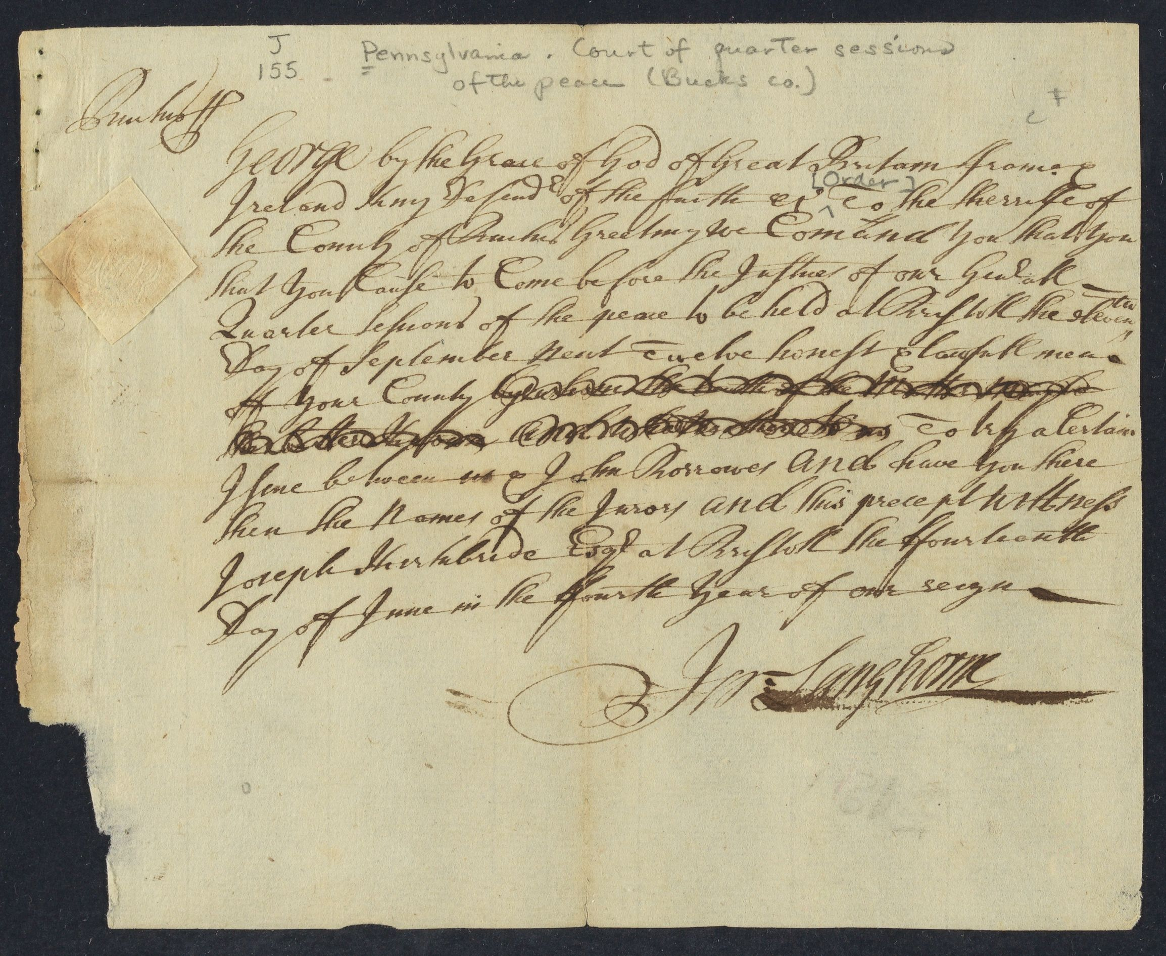 [ Order to the sheriff of Bucks County], 1731