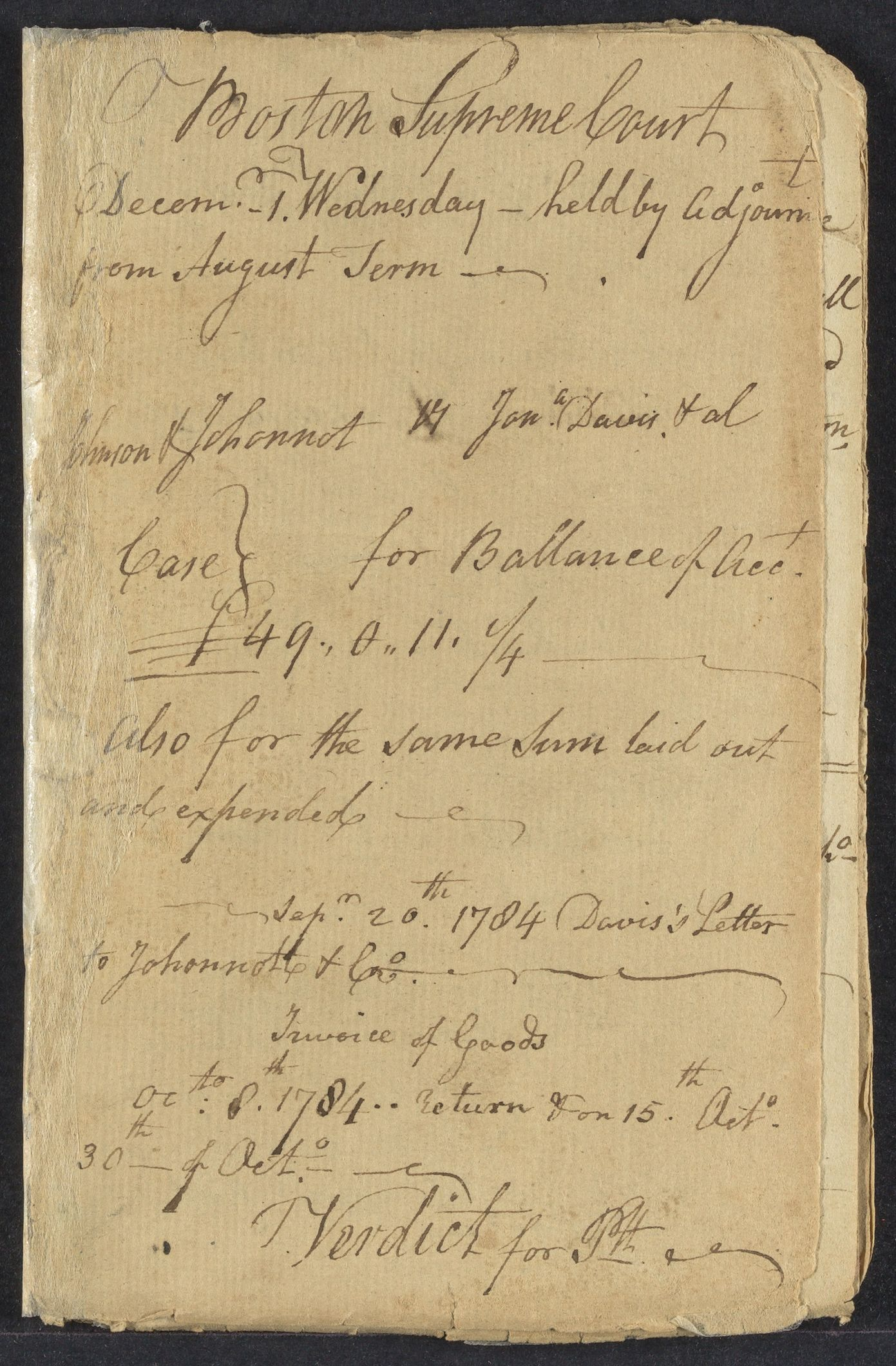 Notes on cases in Boston, 1784-1790