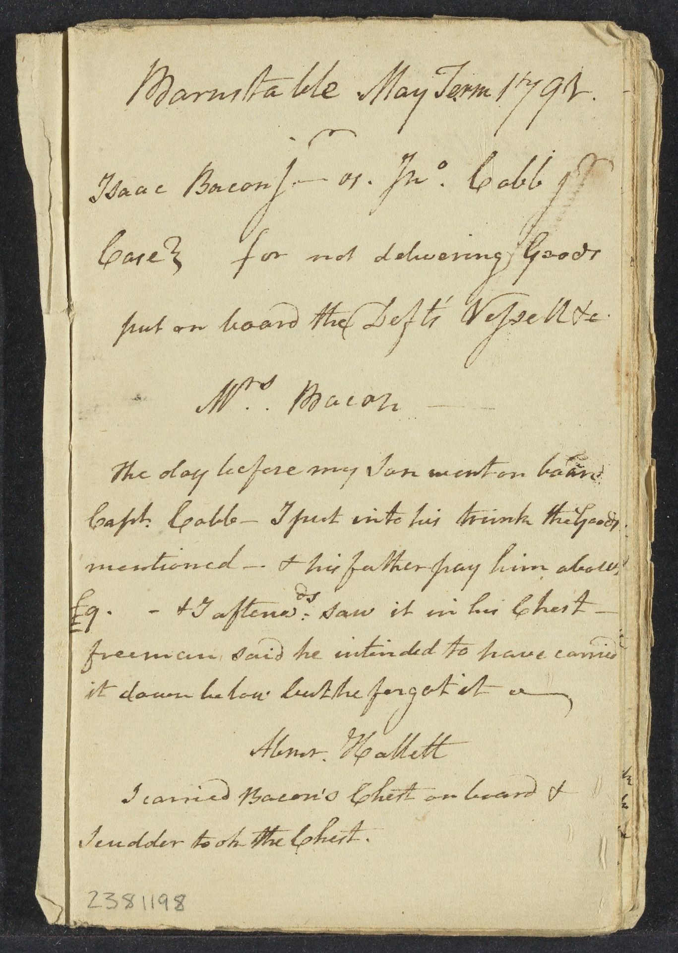 Notes on cases in Barnstable County, 1791
