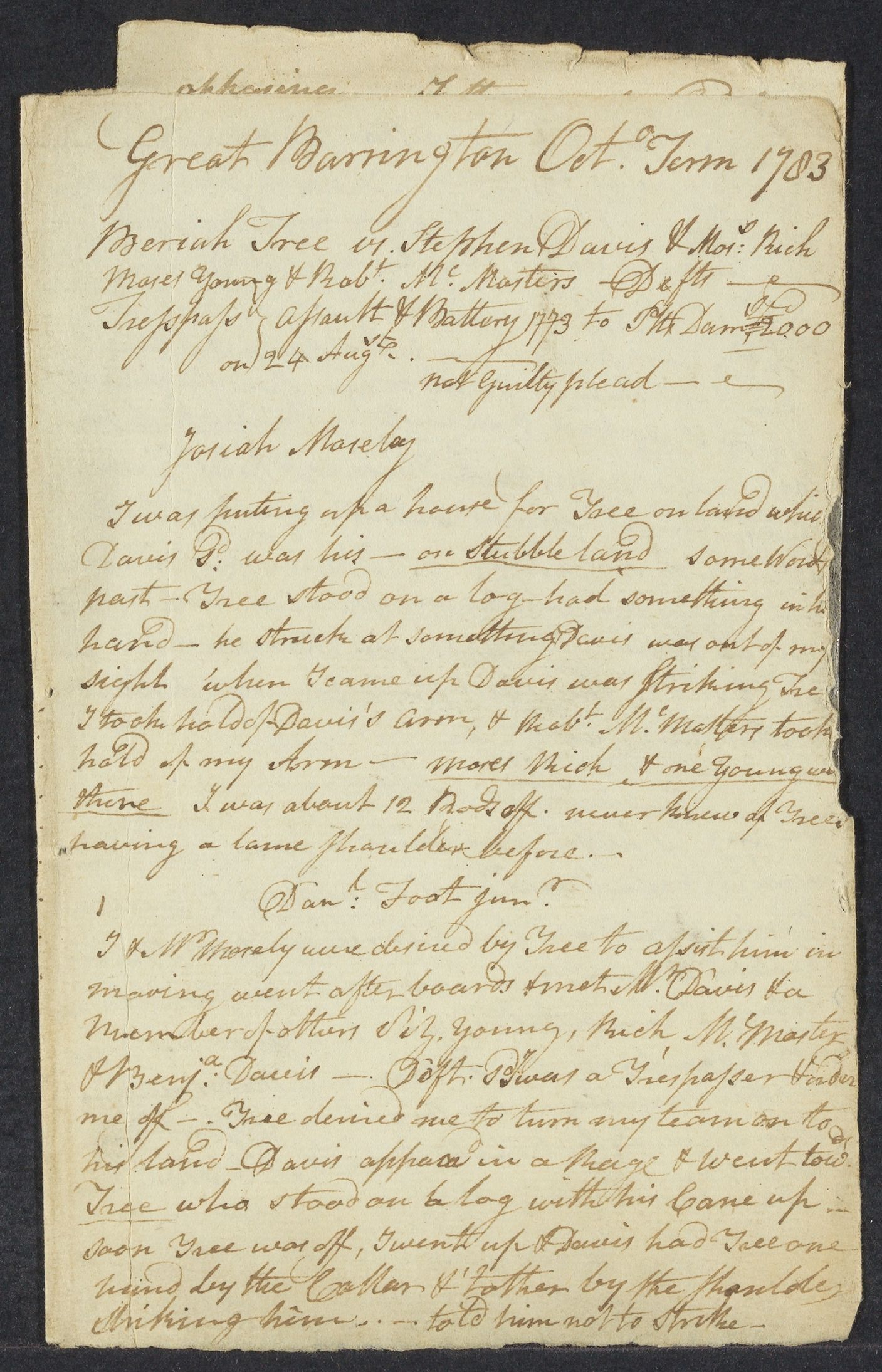 Notes on cases in Great Barrington, 1783