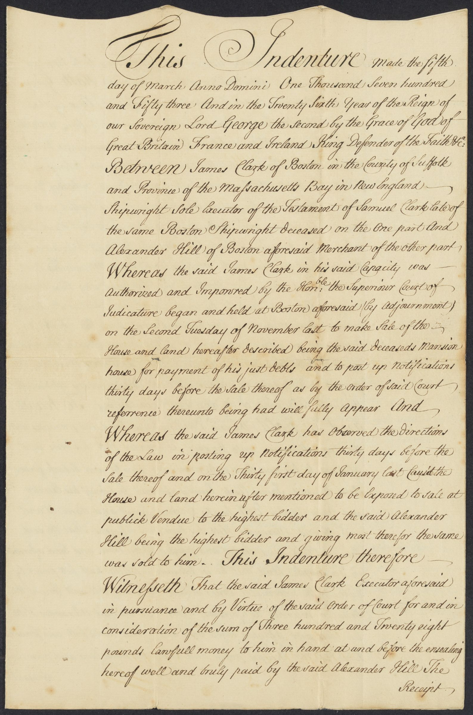 Indenture acknowledging sale of property, Boston, 1753