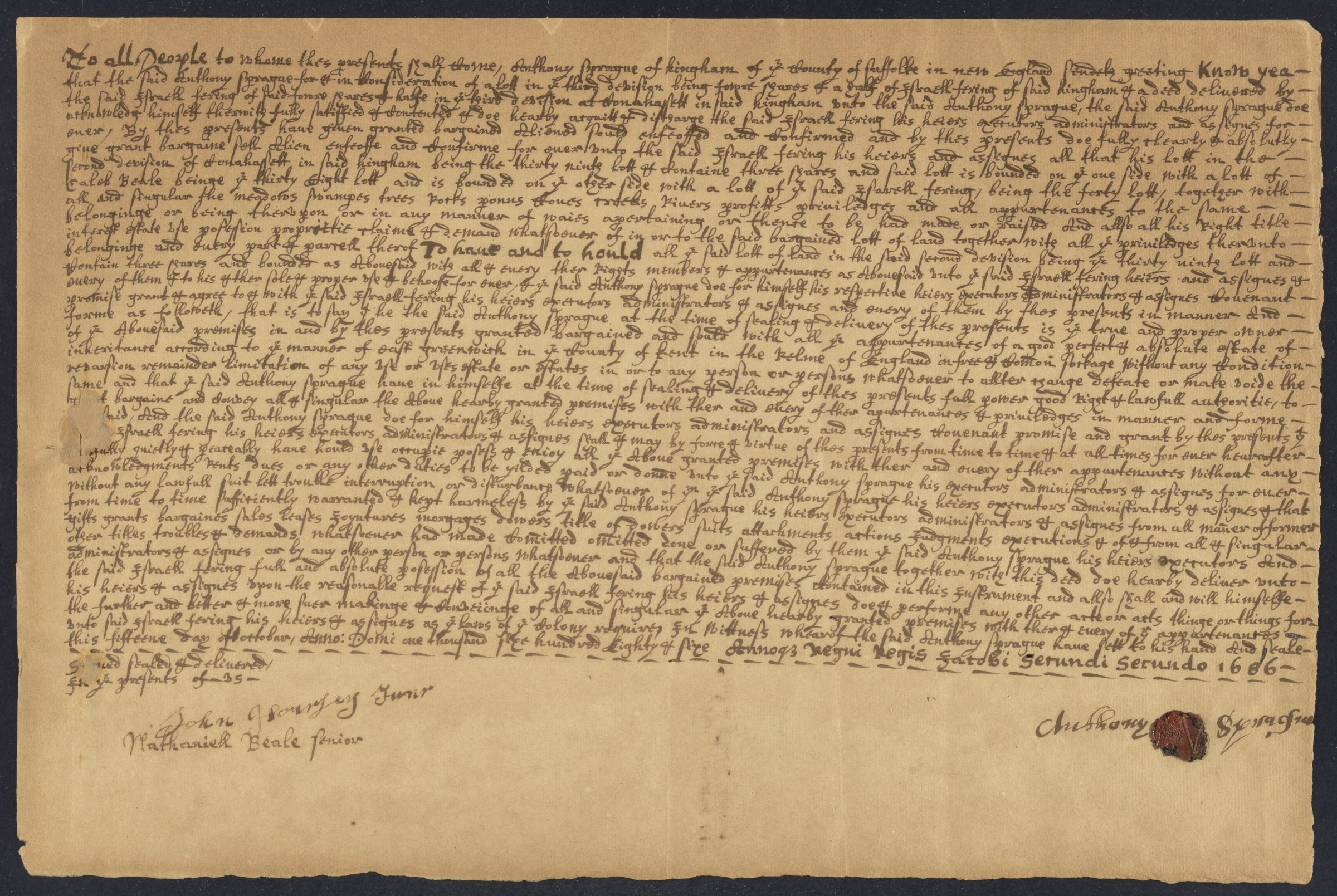 Deed of sale of property, Hingham, Massachusetts, 1686