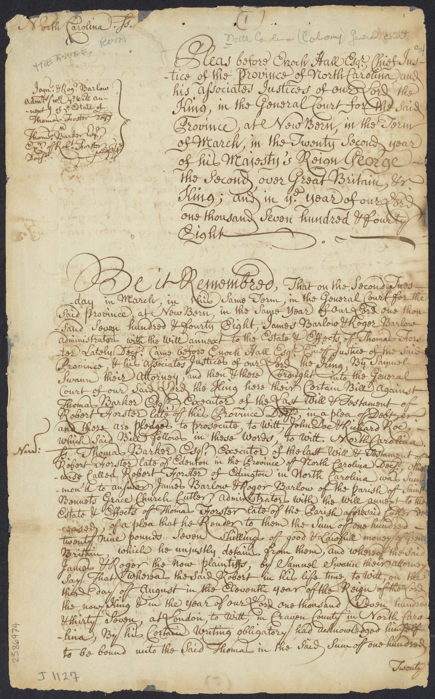Opinions in cases of debt, 1748-1749