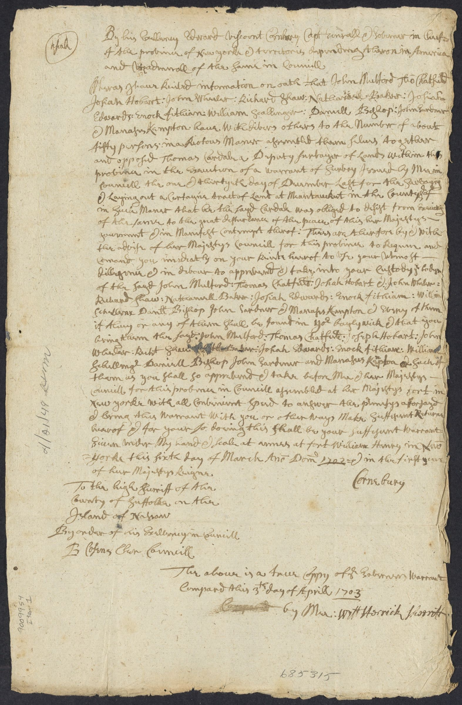 Warrants from the governor and chief justice of New York, 1703-1704