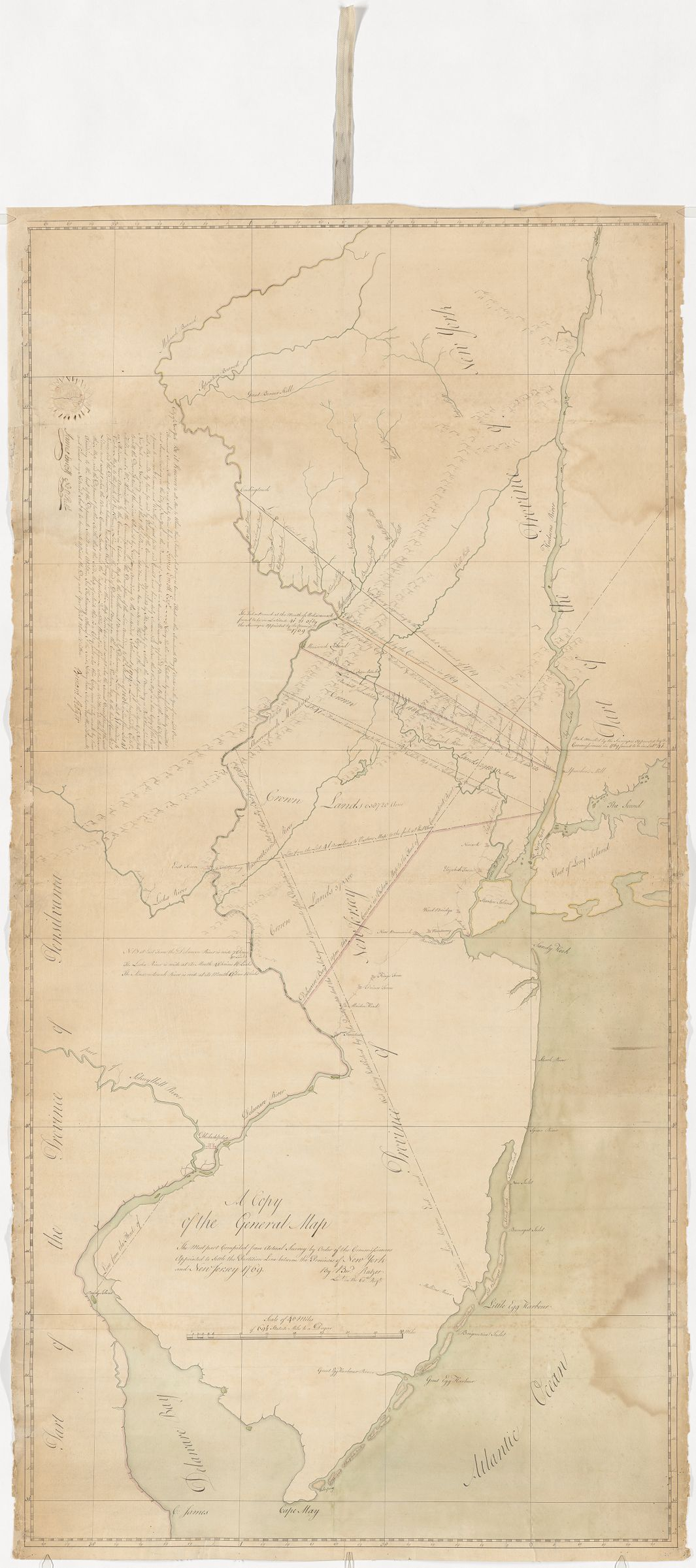 A  copy of the general map the most part compiled from the actual survey by order of the commisioners appointed to settle the partition line between the provinces of New York and New Jersey : manuscript map, 1769