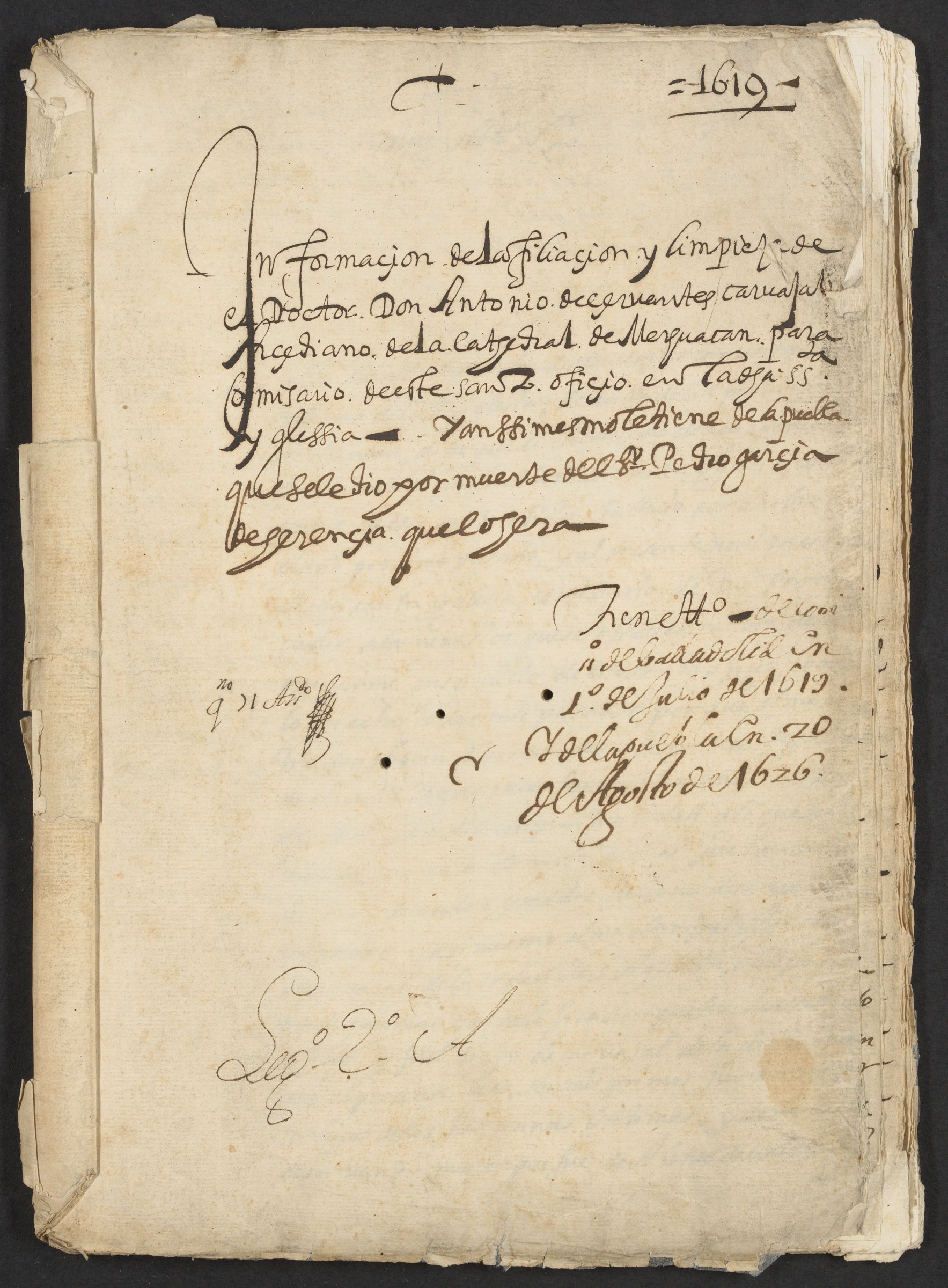 "Inquest into the filiation and ""limpieza de sangre"" of Doctor Don Antonio de Cervantes,1619."