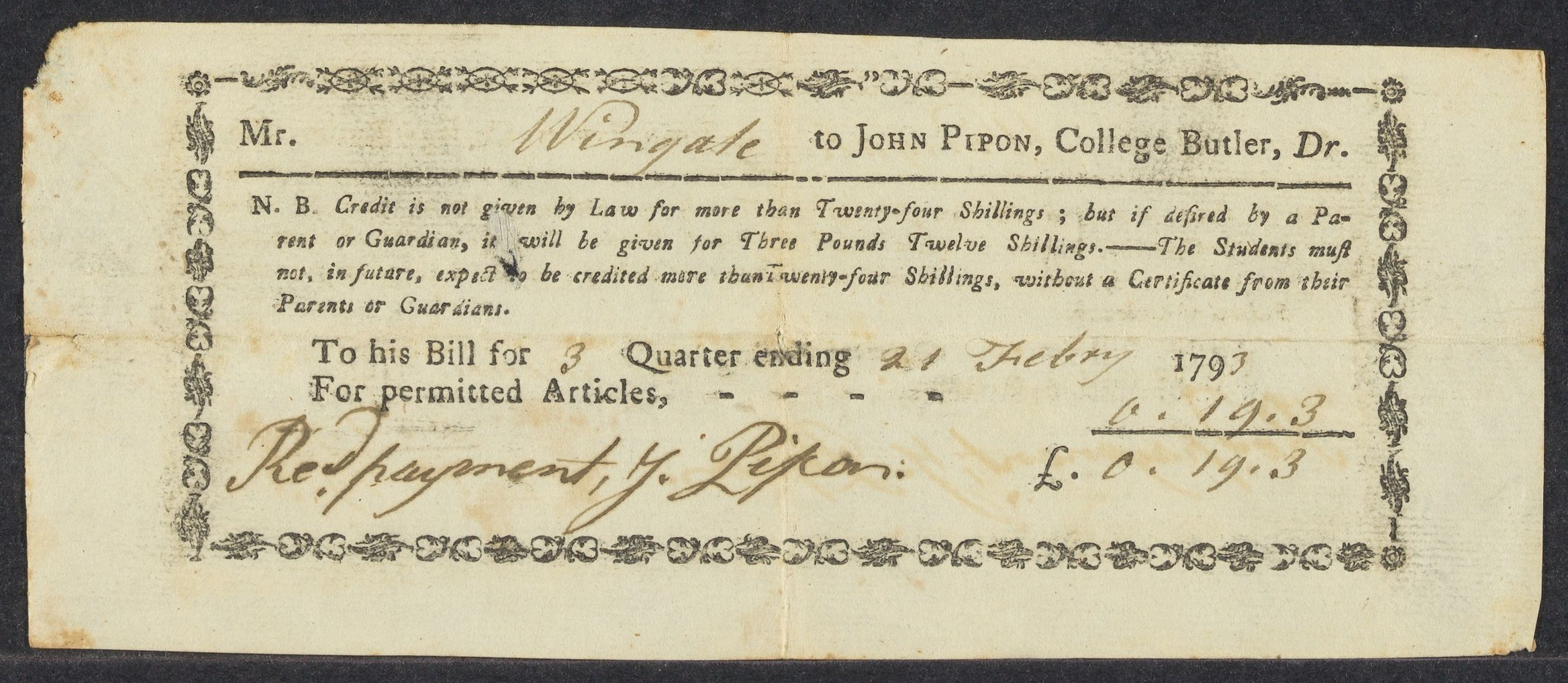Collection of Harvard College bills sent to George Wingate, 1792-1796