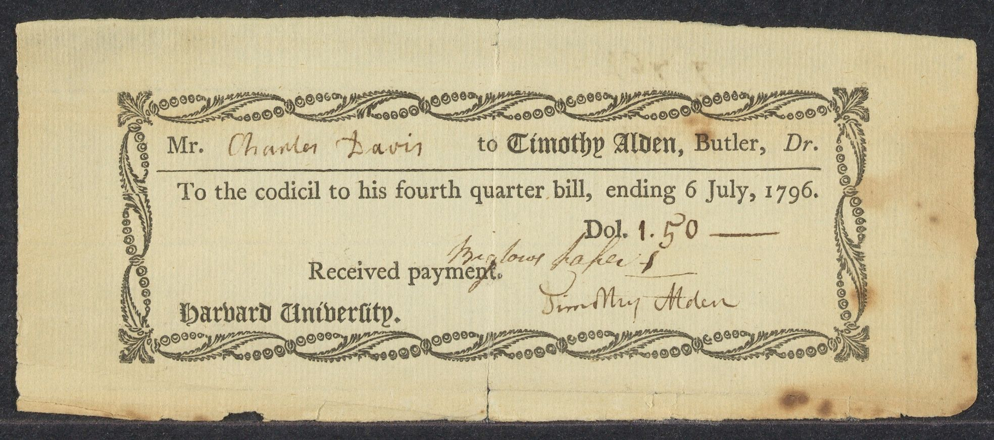 Collection of Harvard College quarter bill and butler's bills sent to Charles Davis, 1793-1796