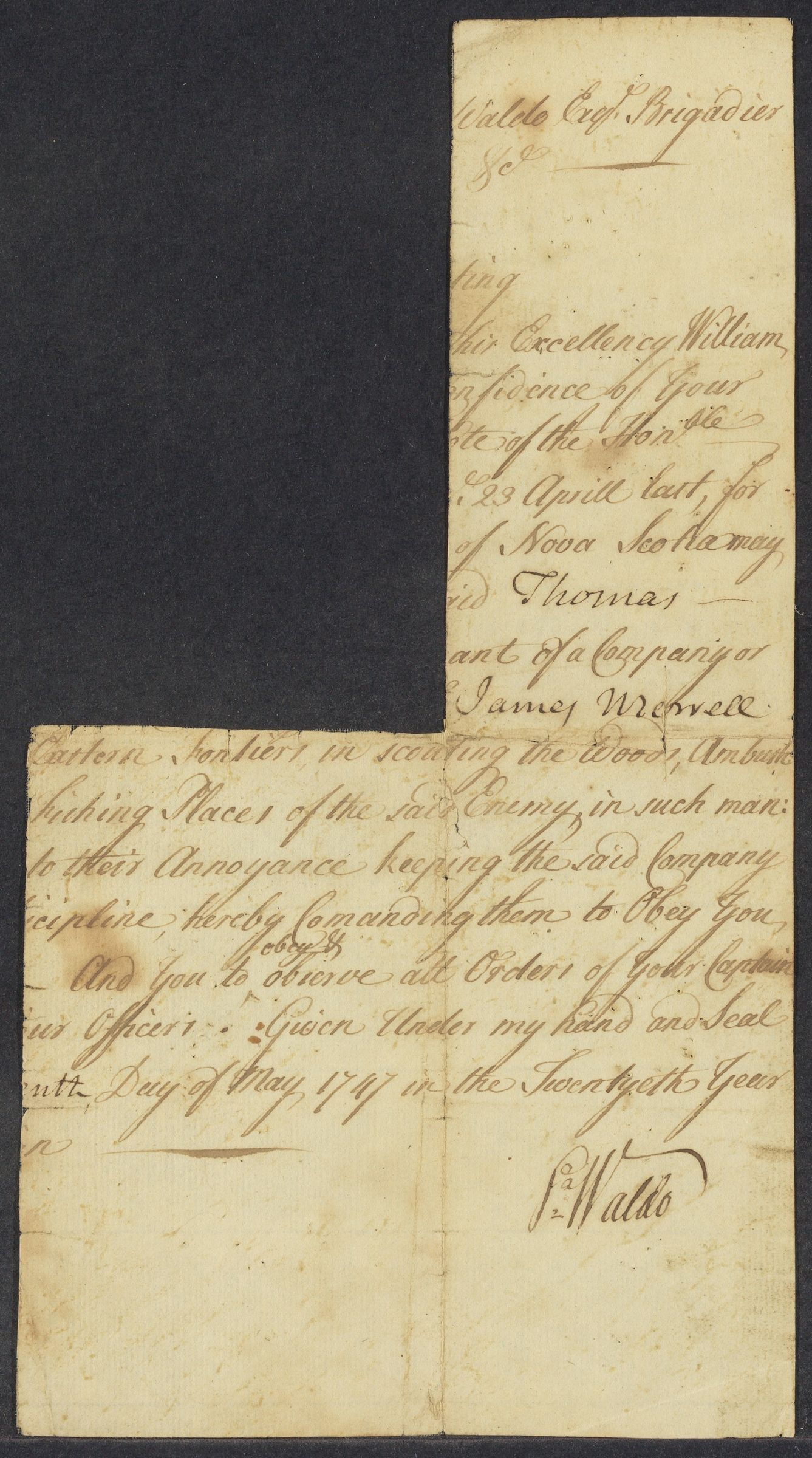 Waldo, [ ]. [Military orders]. MS.D.s.; [n.p.], 10 May 1707.