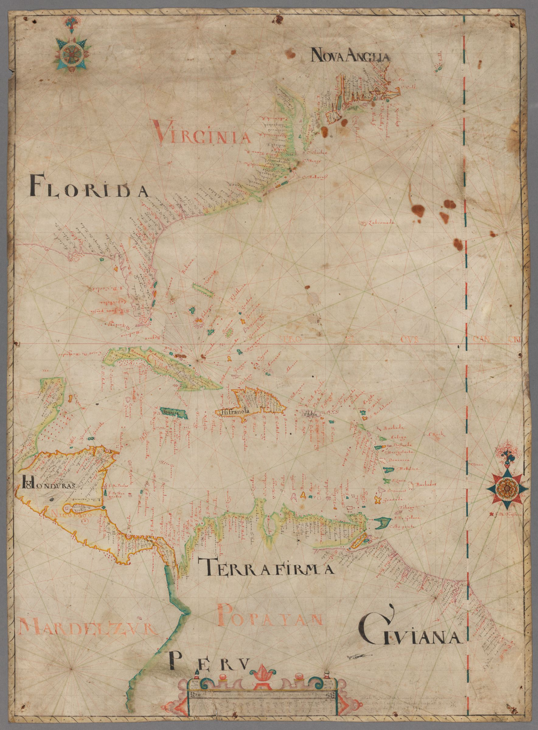 [ Portolan chart of eastern North and Central America and northern South America] : manuscript, 1659