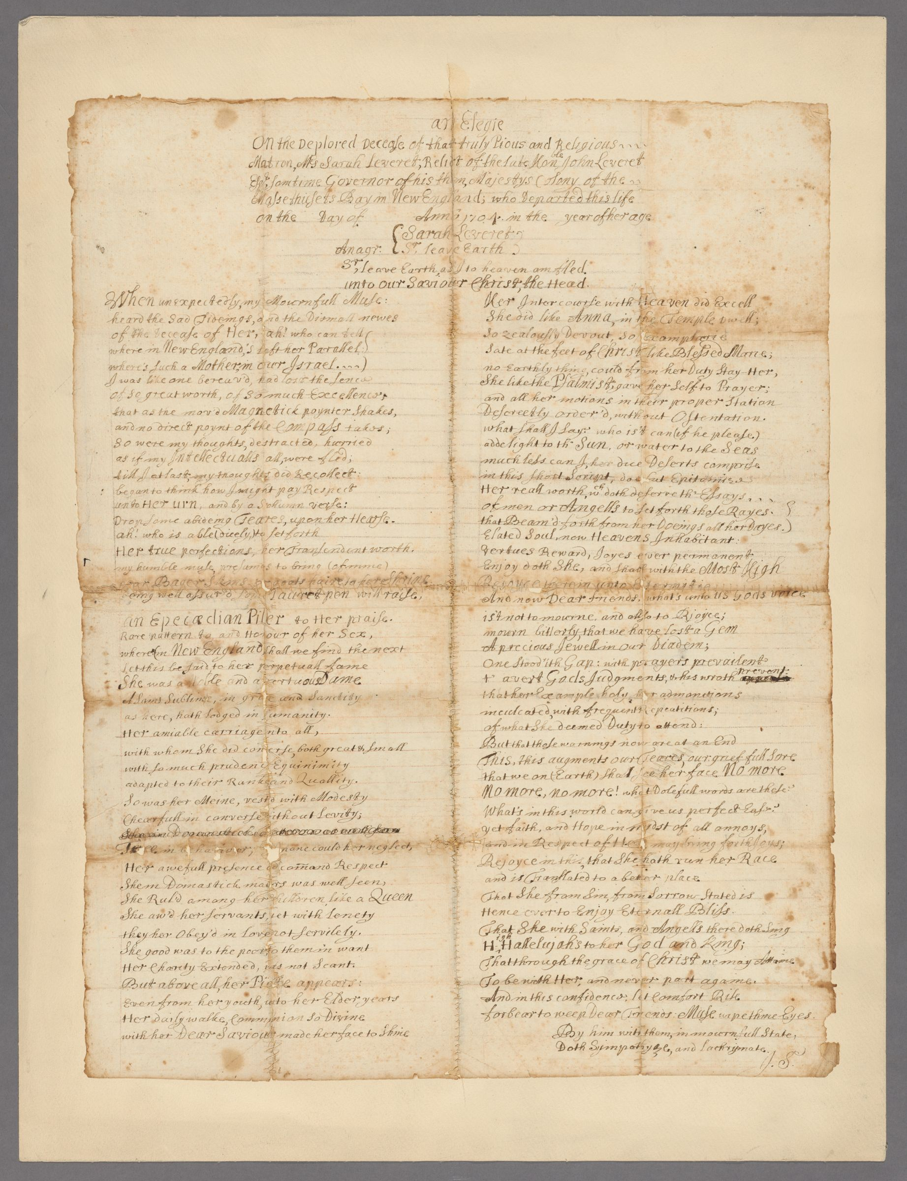 An  elegie on the deplored decease of that truly pious and religious matron, Mrs. Sara Leveret: relict of the late hon[or]able John Leveret, Esq., sometime governor of his then Majesty's colony of the Massethusets [sic] Bay in New England : manuscript, 1704