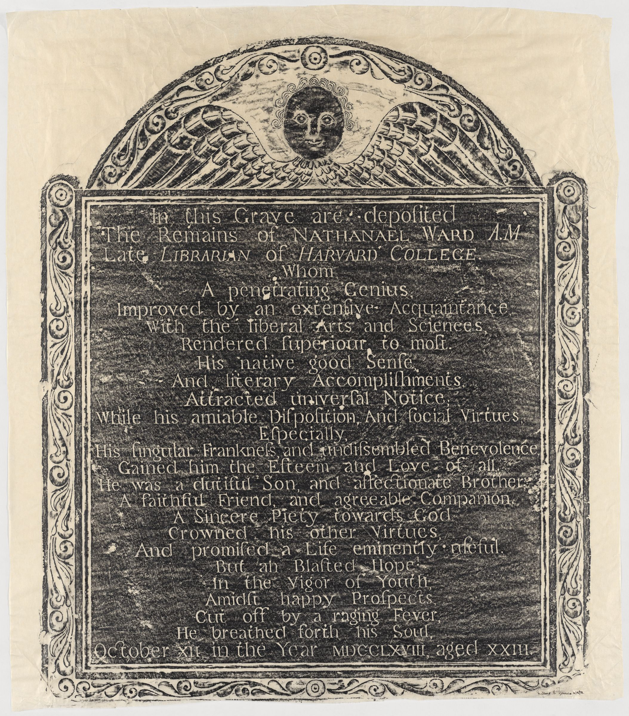 Rubbing of the gravestone of Harvard librarian Nathaniel Ward made by David S. Ferriero, October 15, 1972