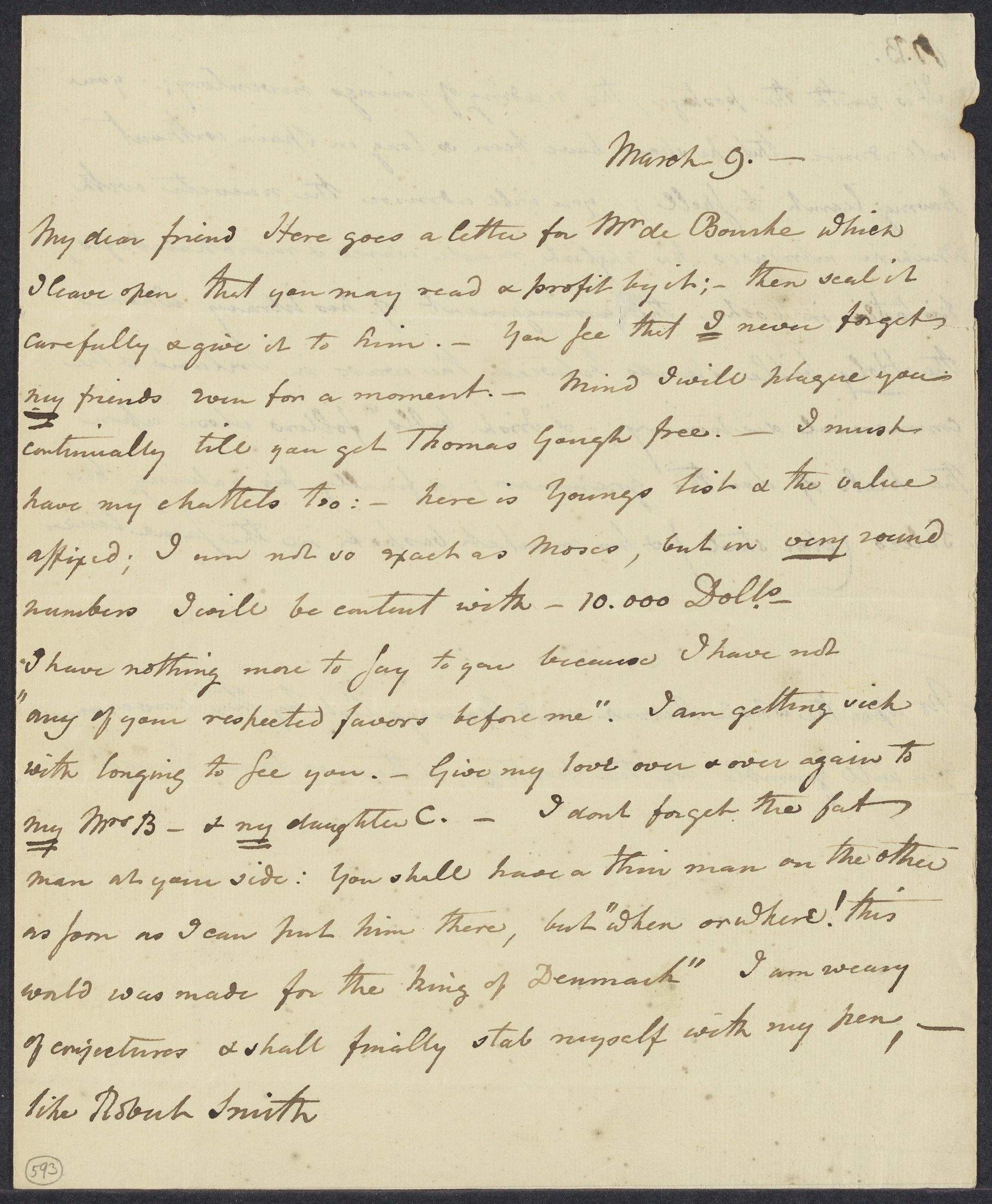 Erving, George William, 1769-1850. A.L. to Joel Barlow; [no place] 9 Mar [18--]