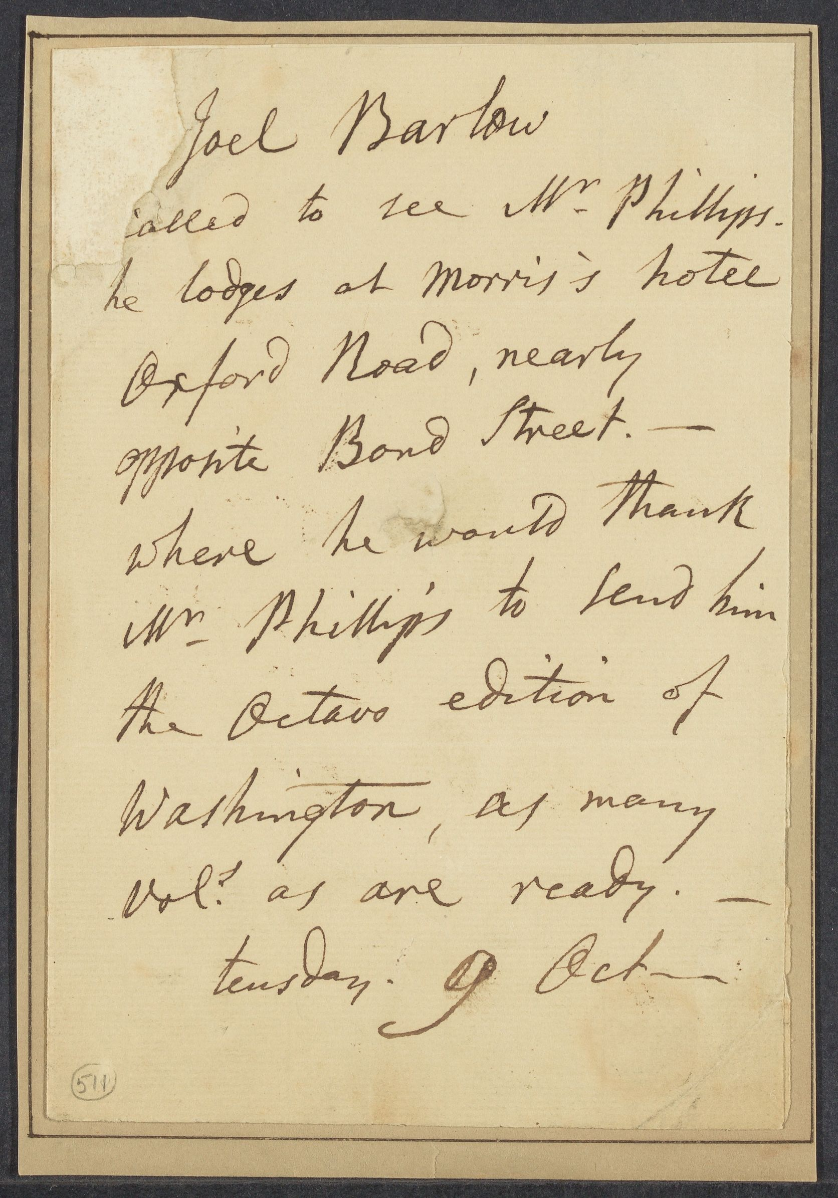 Barlow, Joel, 1754-1812. Letter to [ ] Phillips; [London] 9 Oct [179- ]