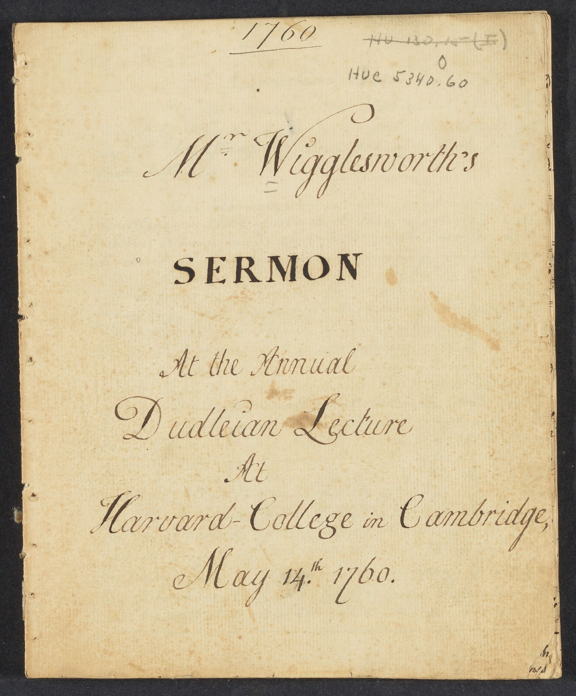 Sermon at the annual Dudleian lecture at Harvard College in Cambridge, May 14th, 1760