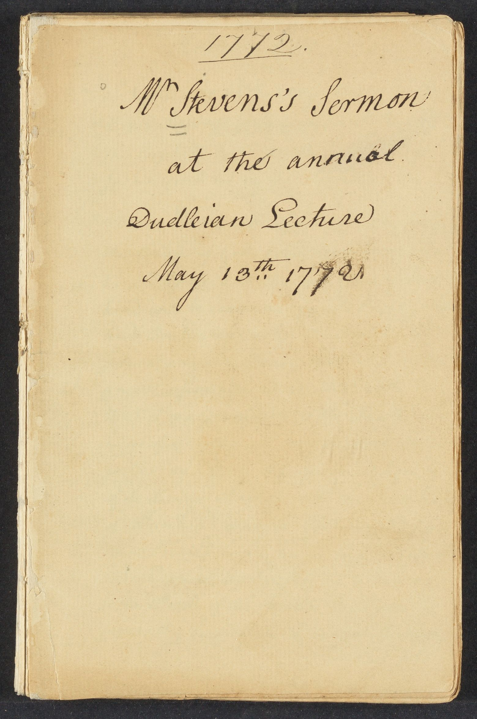 Sermon at the annual Dudleian lecture, May 13th, 1772