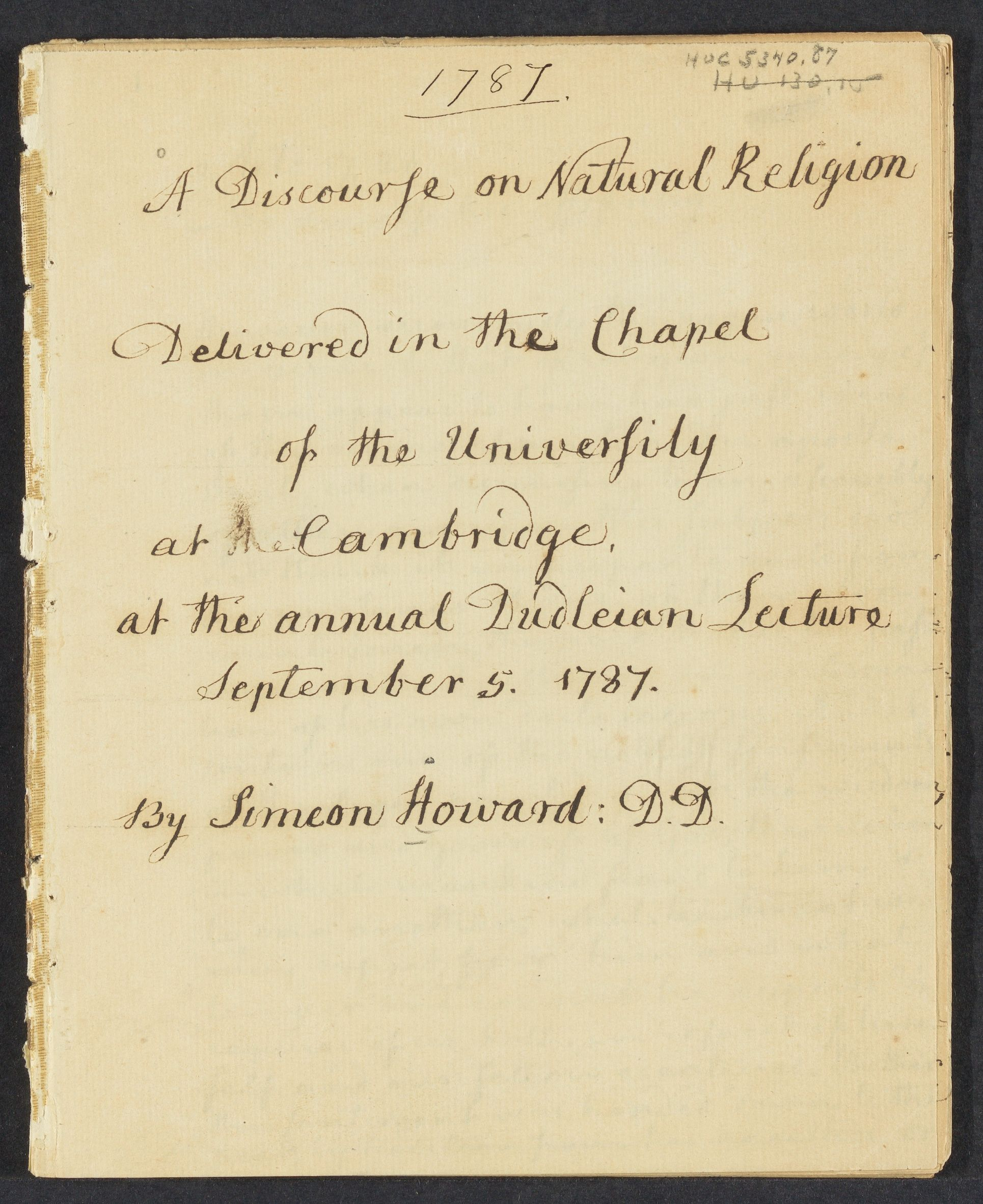 A  discourse on natural religion: delivered in the Chapel of the University at Cambridge, September 5, 1787