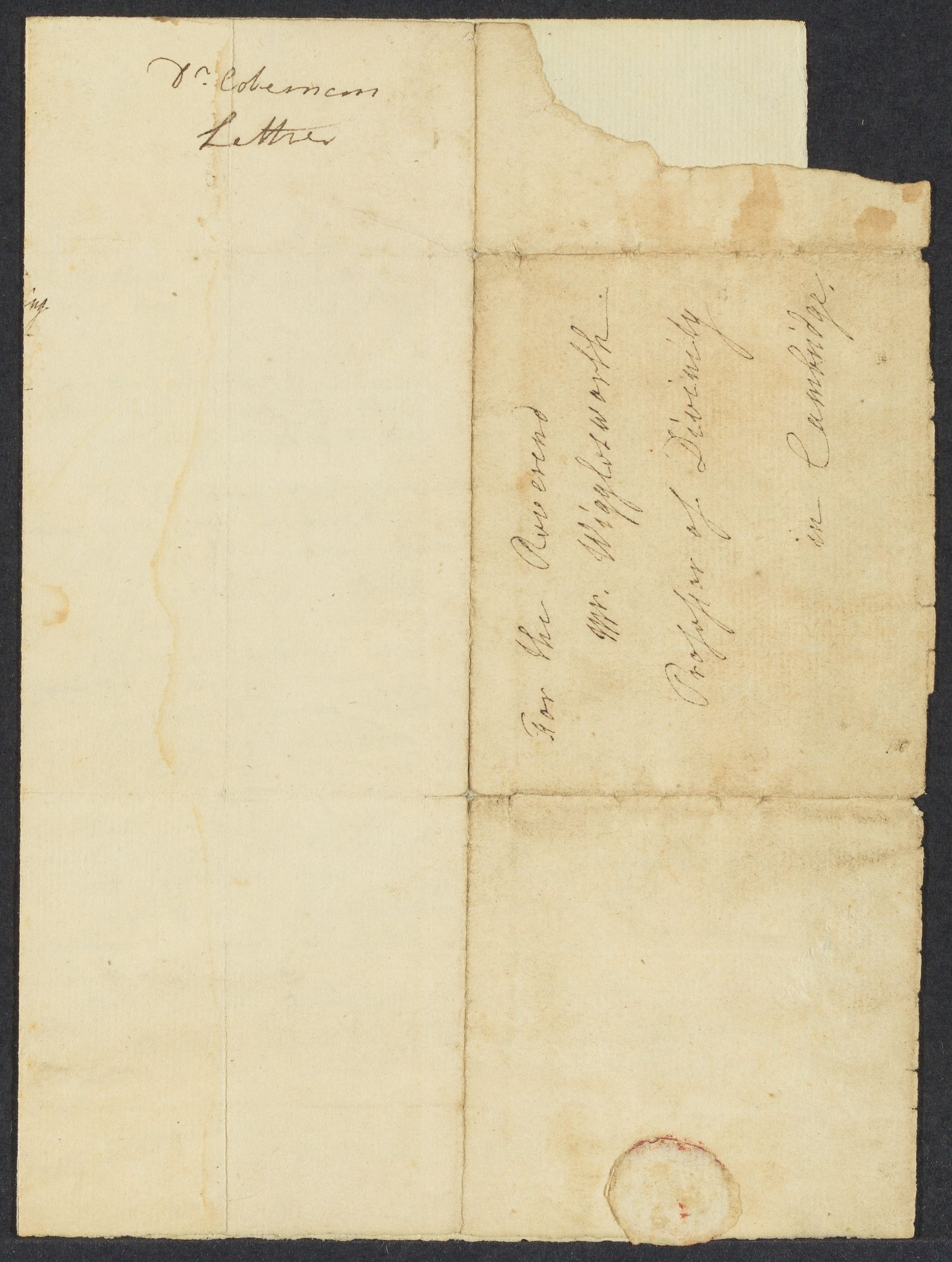 Letter from Benjamin Colman to Edward Wigglesworth about John Leverett, 1728 March 4