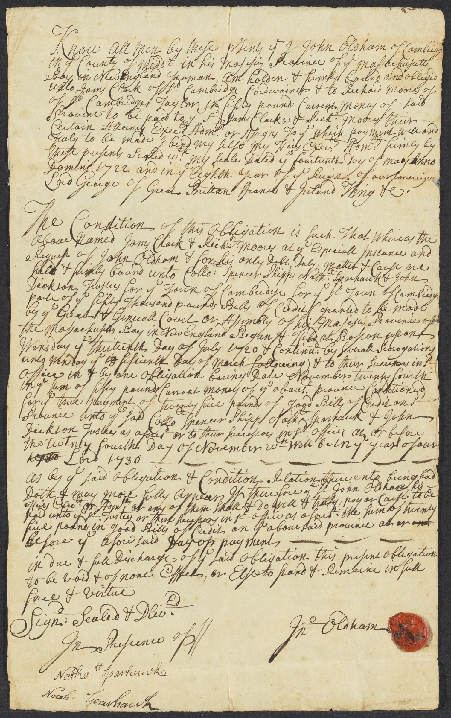 John Oldham counterbond to James Clarke & Richard Moores, 1722 May 14