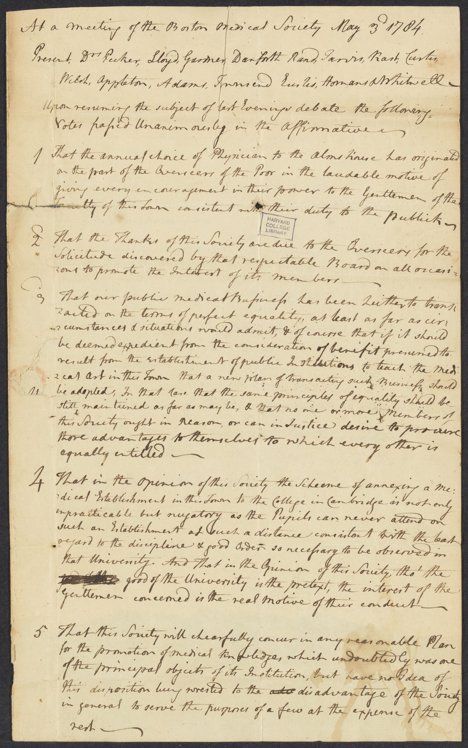 John Warren's copy of votes from a meeting of the Boston Medical Society, 1784 May 3