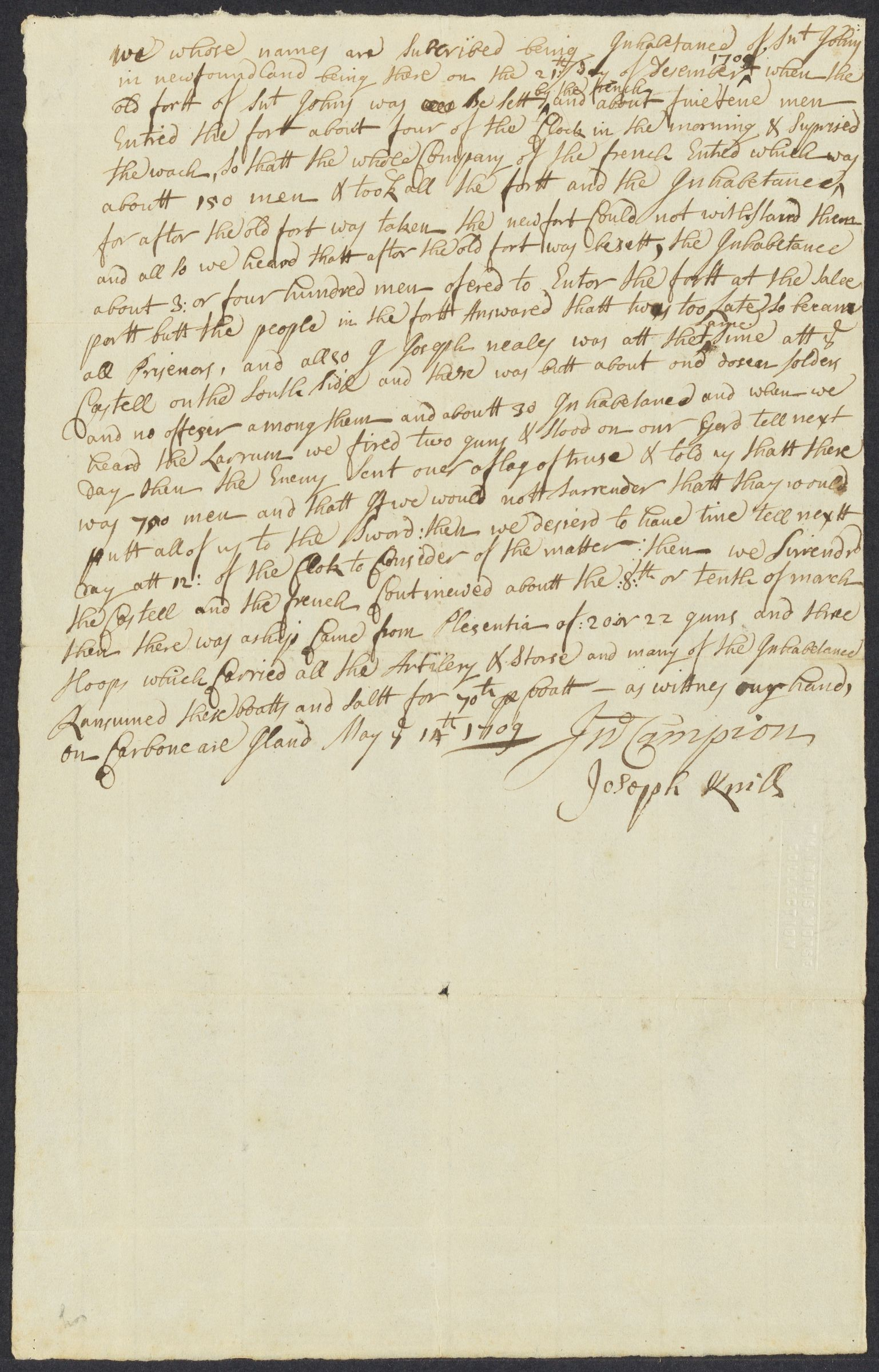 An  account of the capture of St. Johns by the French : manuscript, 1709 May 14