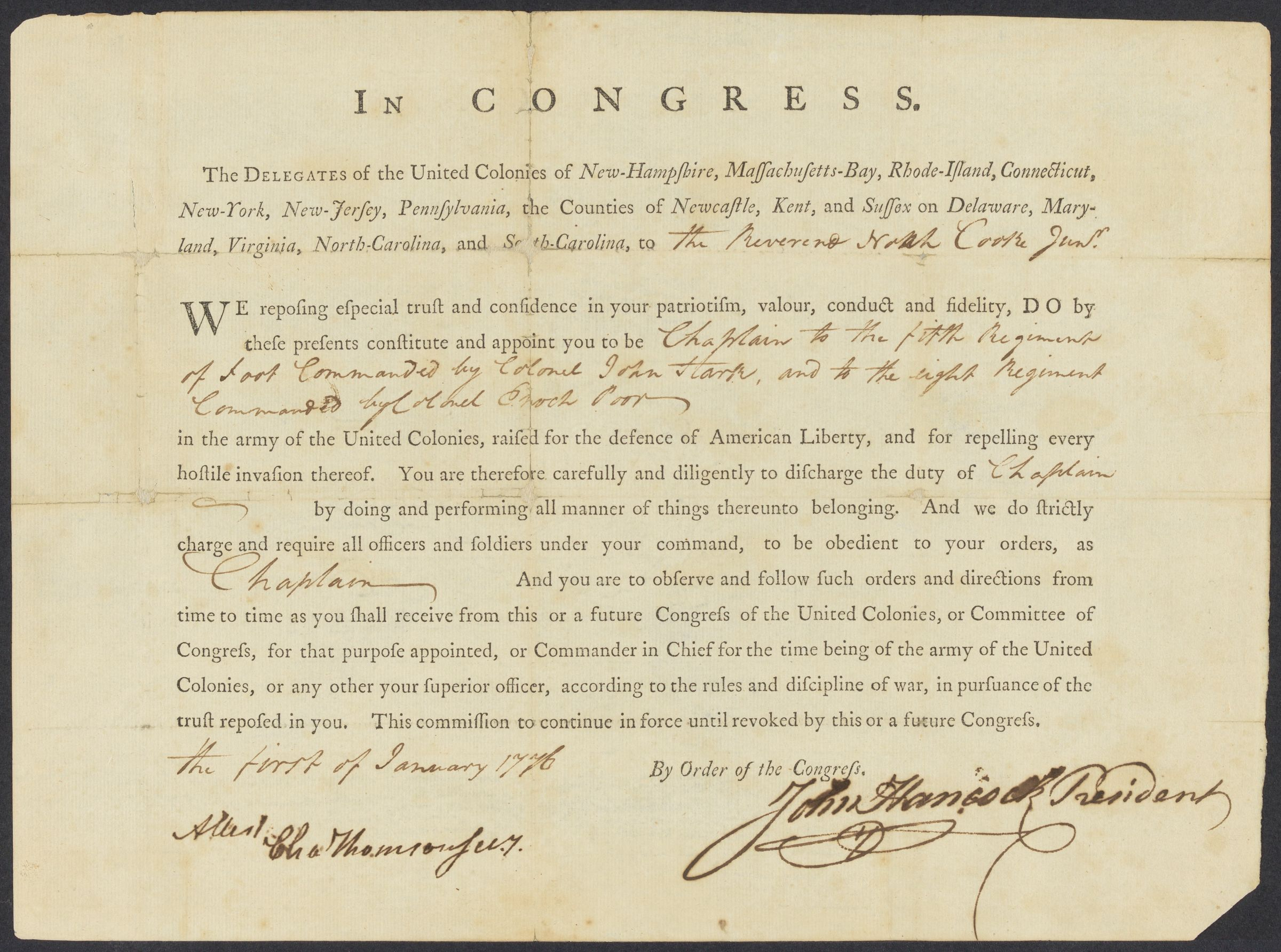 Commission of Noah Cooke, Jr., as chaplain in the Continental Army, signed by John Hancock, 1776 January 1