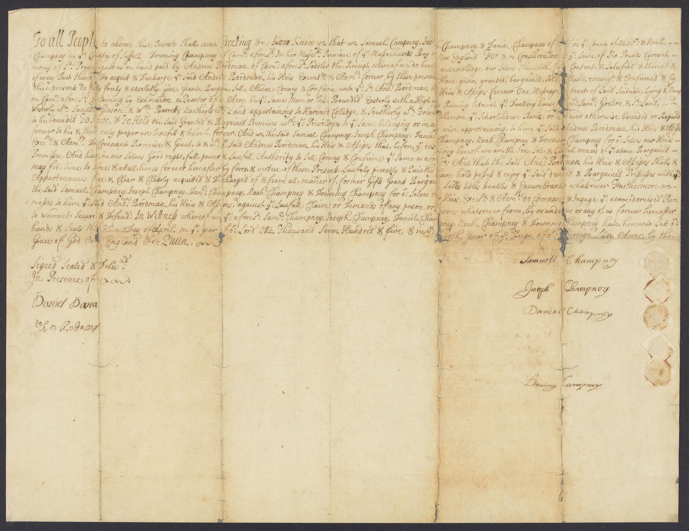 Deed of sale, 1705 April 11