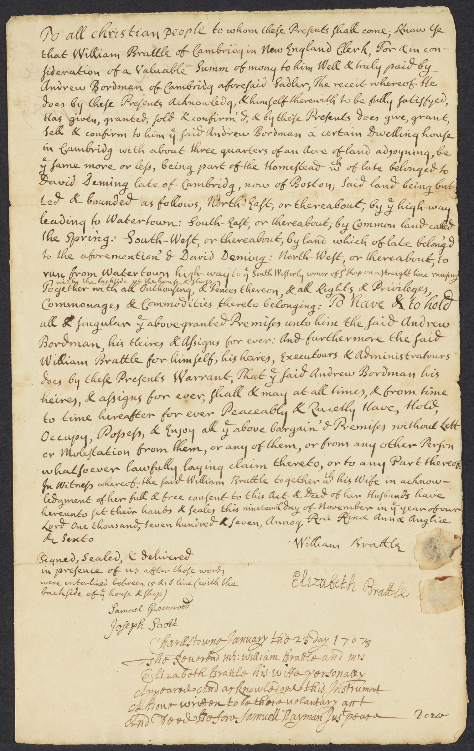 Deed of sale, 1707 November 19