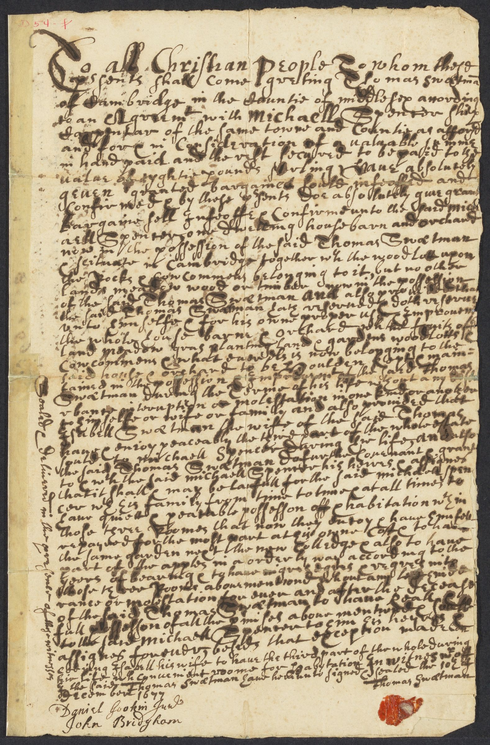 Deed of feoffment for property in Cambridge, Massachusetts: from Thomas Sweetman to Michael Spencer, 1677 December 10