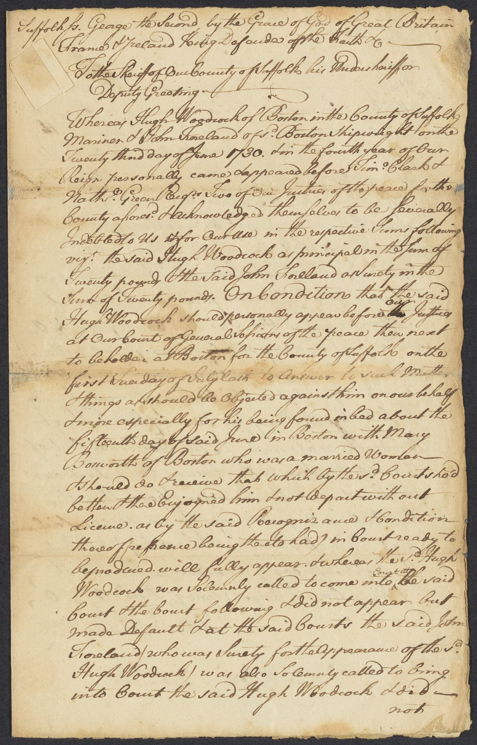 Summons and recognizance for Hugh Woodcock, 1730