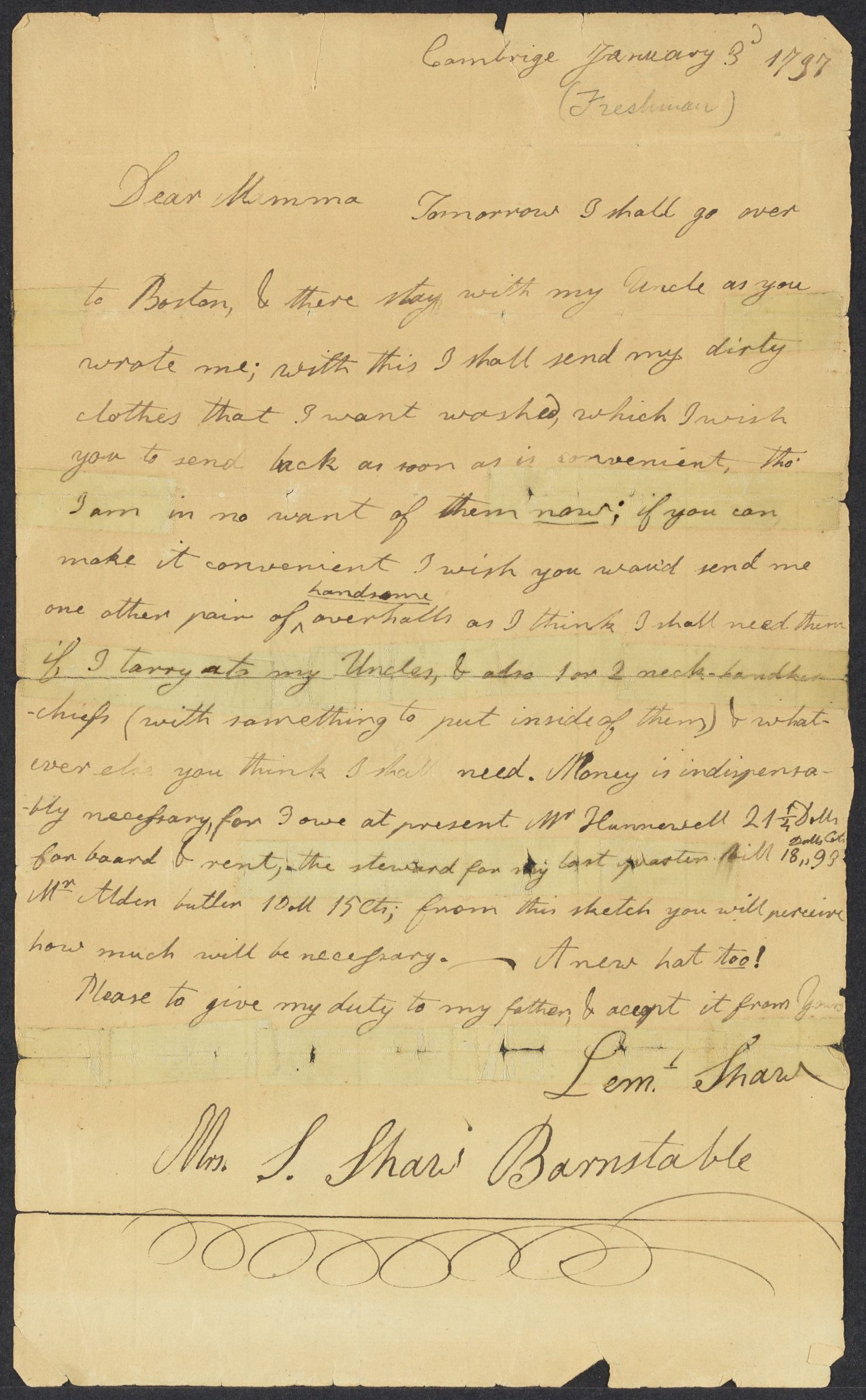 Letter from Lemuel Shaw to Susanna Shaw, January 3, 1797