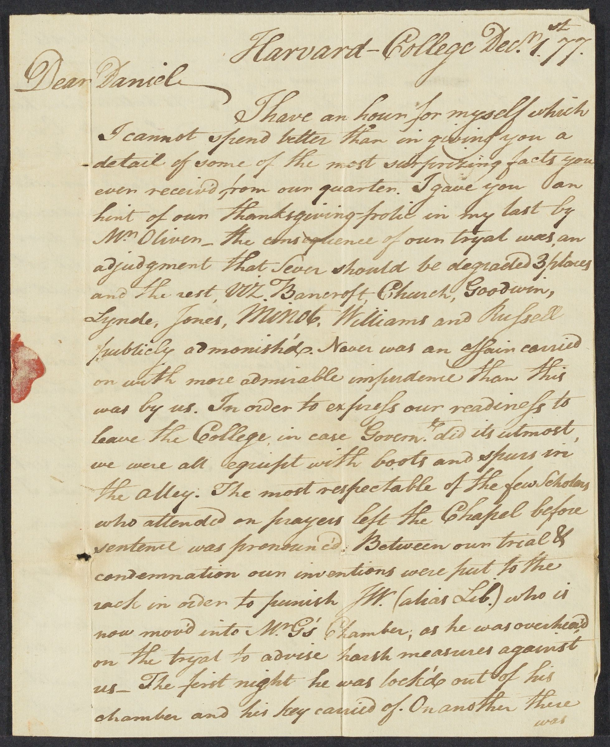 Letter from George Richards Minot to Daniel Kilham, 1777 December 1