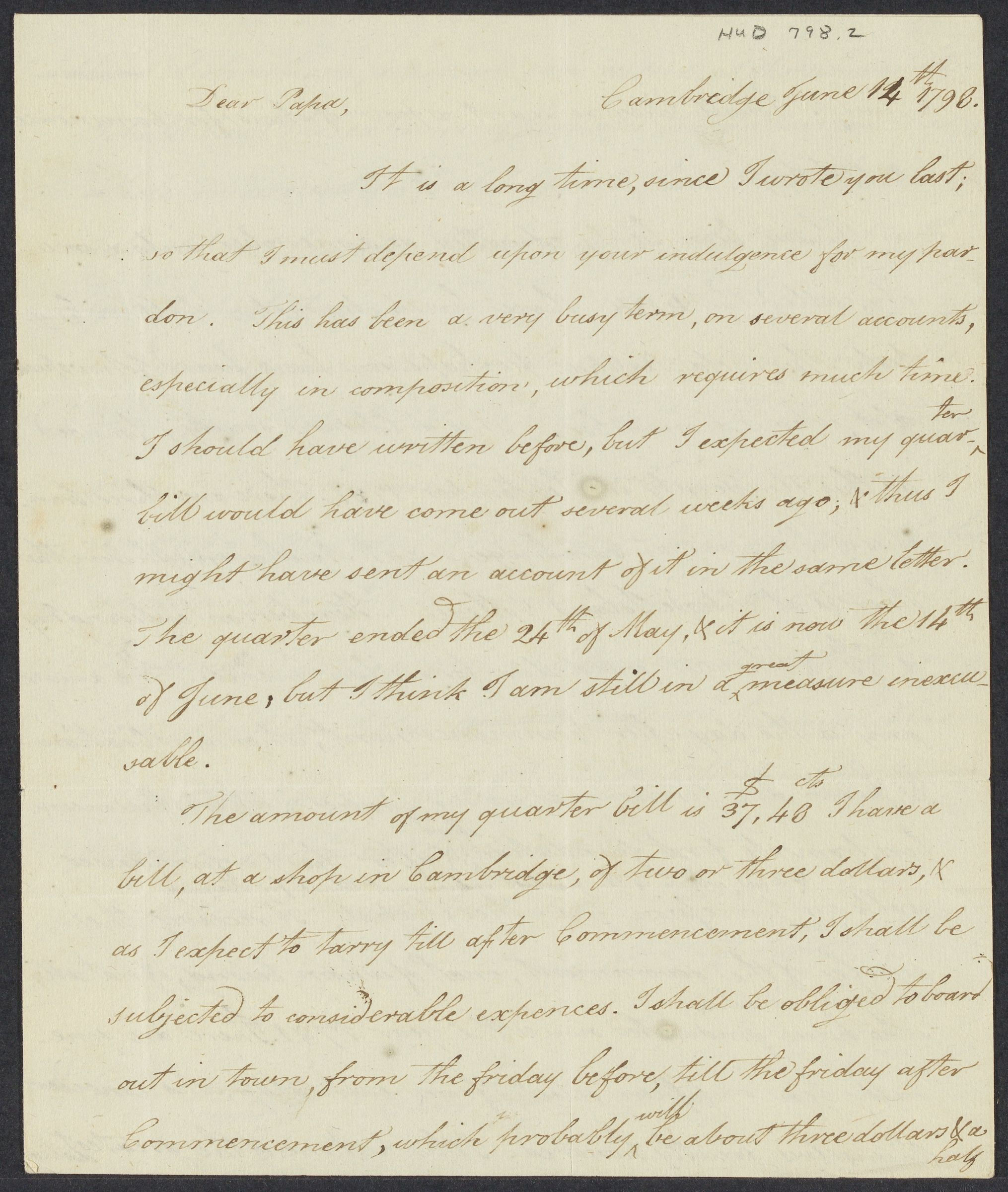 Letters from Timothy Pickering to his brother and father, 1797-1798