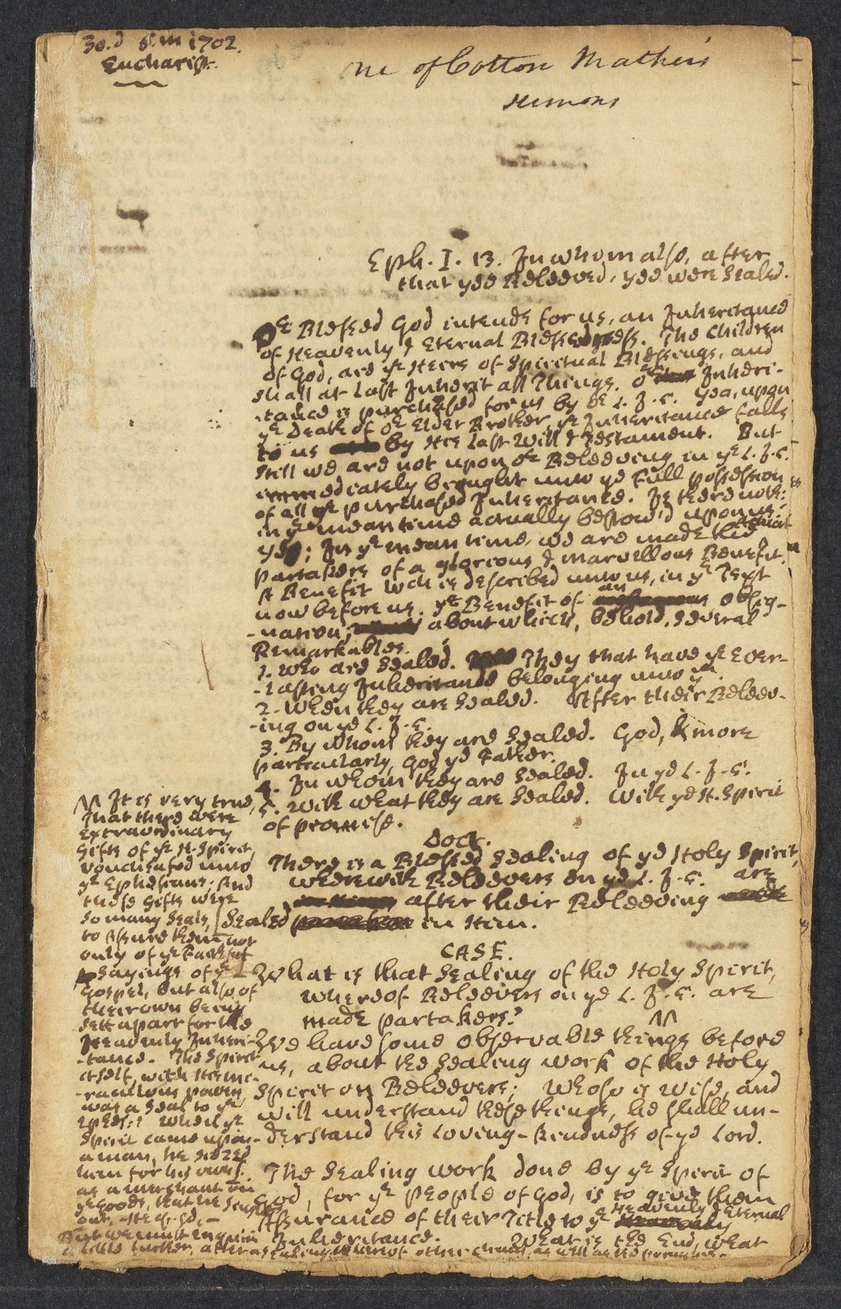 Mather, Cotton, 1663-1728. Eph.I.13 [Sermon on the healing work of the Holy Spirit]. A.MS. with annotation in an unidentified hand; [n.p.] 30 May 1702.