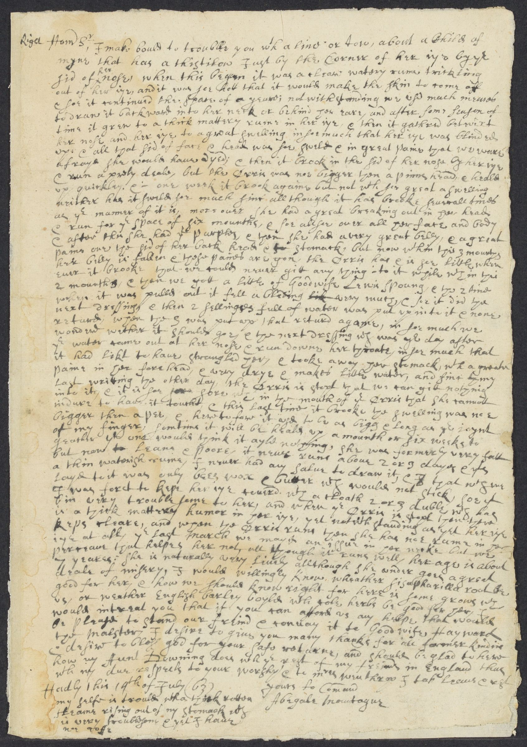 Montague, Abigale, autographed letter signed to John Winthrop; Hadley, Mass., 1 side (2 pages), 1663 July 19