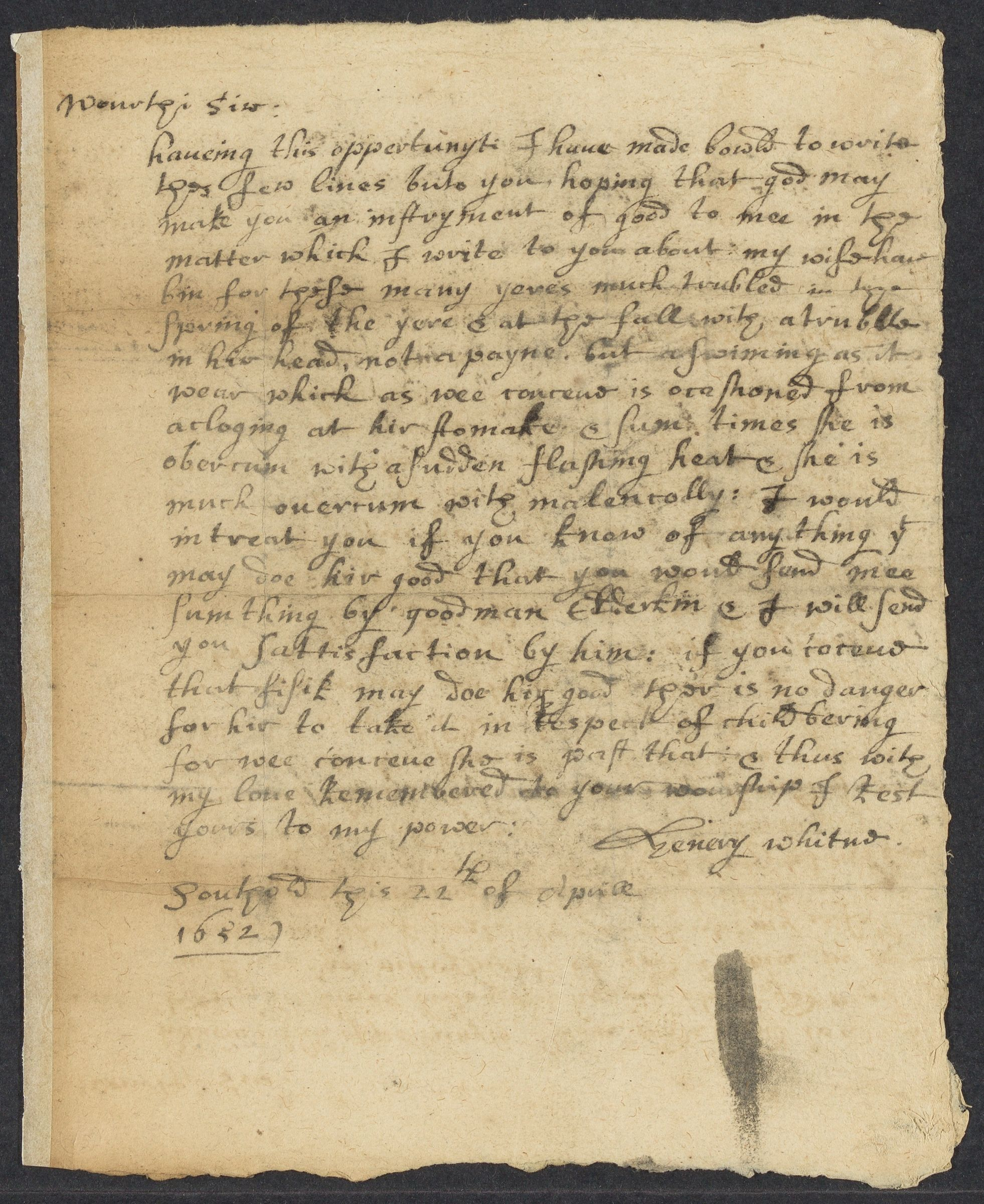 Whitne, Henery, autographed letter signed to John Winthrop; Southold, 1 side (2 pages), 1652 April 22